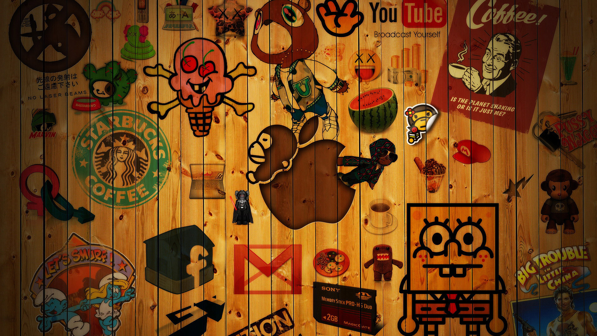 Res: 1920x1080, Logo's on Wood HD Wallpaper. « »