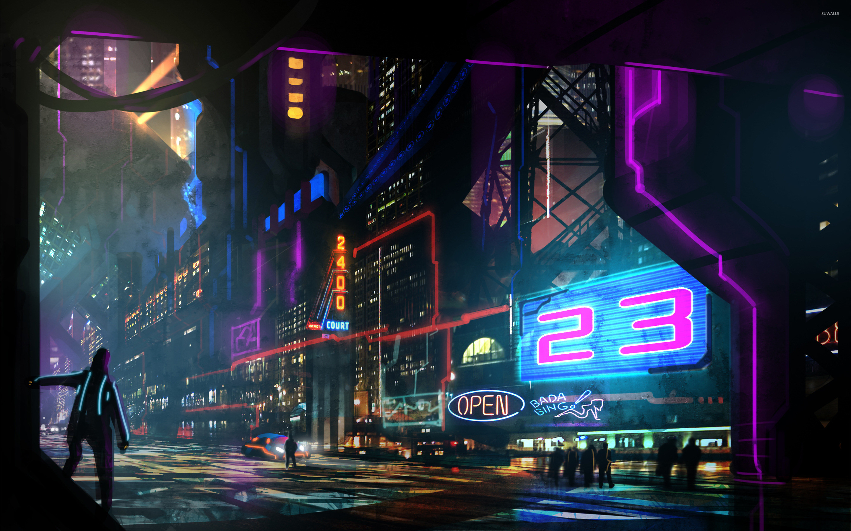 Res: 2880x1800, Neon signs in the night wallpaper