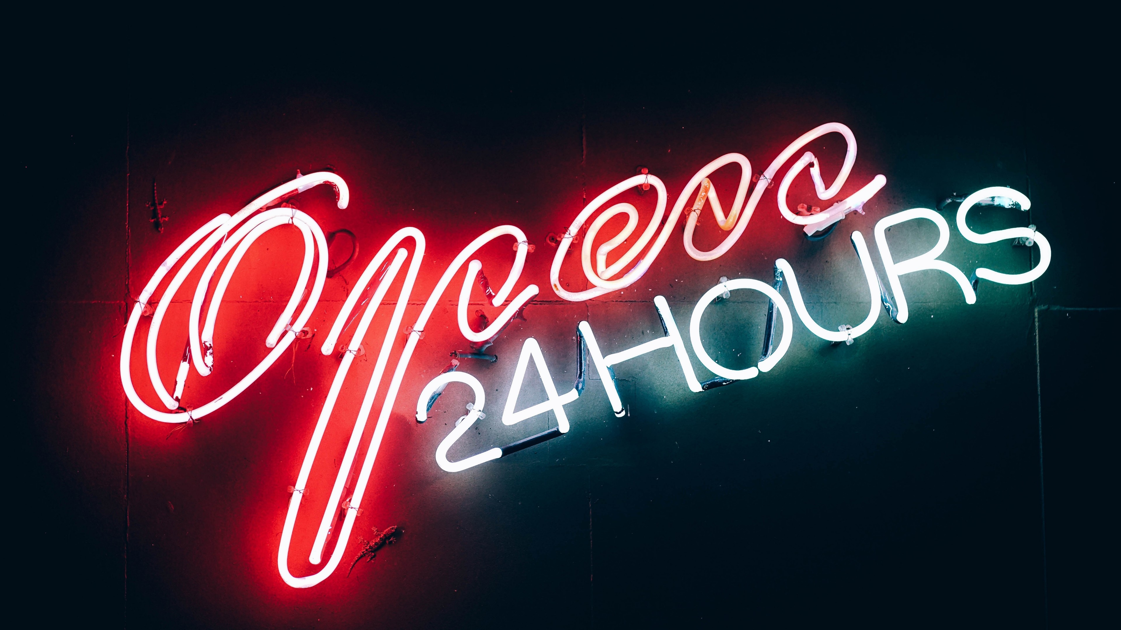 Res: 3840x2160, Open 24 Hours Neon Sign Wallpaper | Wallpaper Studio 10 | Tens of thousands  HD and UltraHD wallpapers for Android, Windows and Xbox
