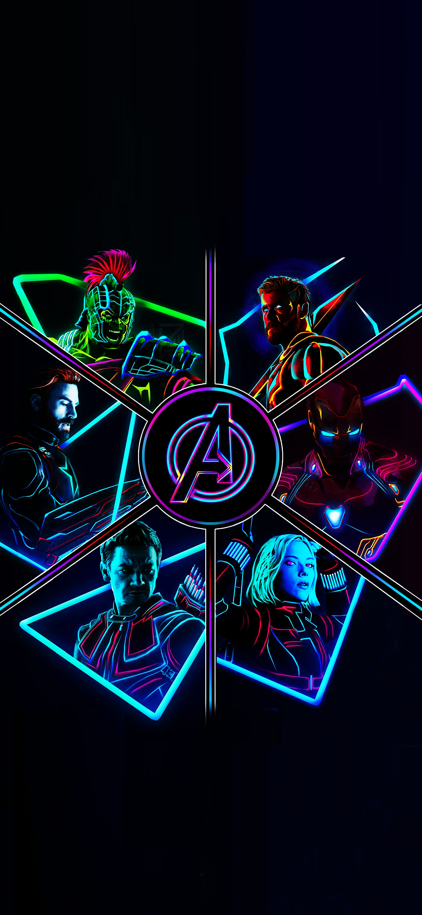 Res: 1437x3114, 2012 Neon Avengers Full Res Phone Wallpapers!