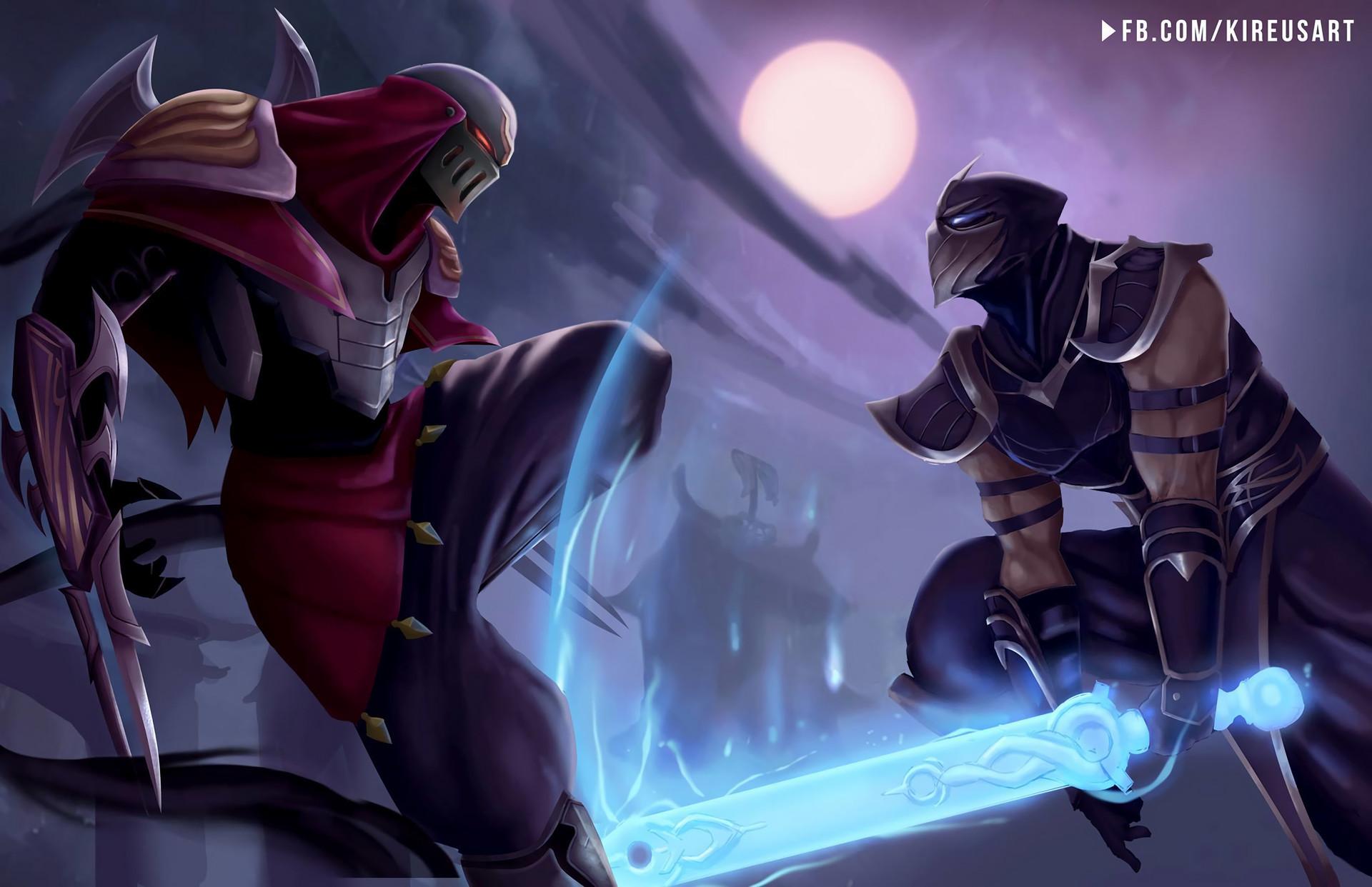 Res: 1920x1242, Shen Vs Zed by Kireusart HD Wallpaper Fan Art Artwork League of Legends lol