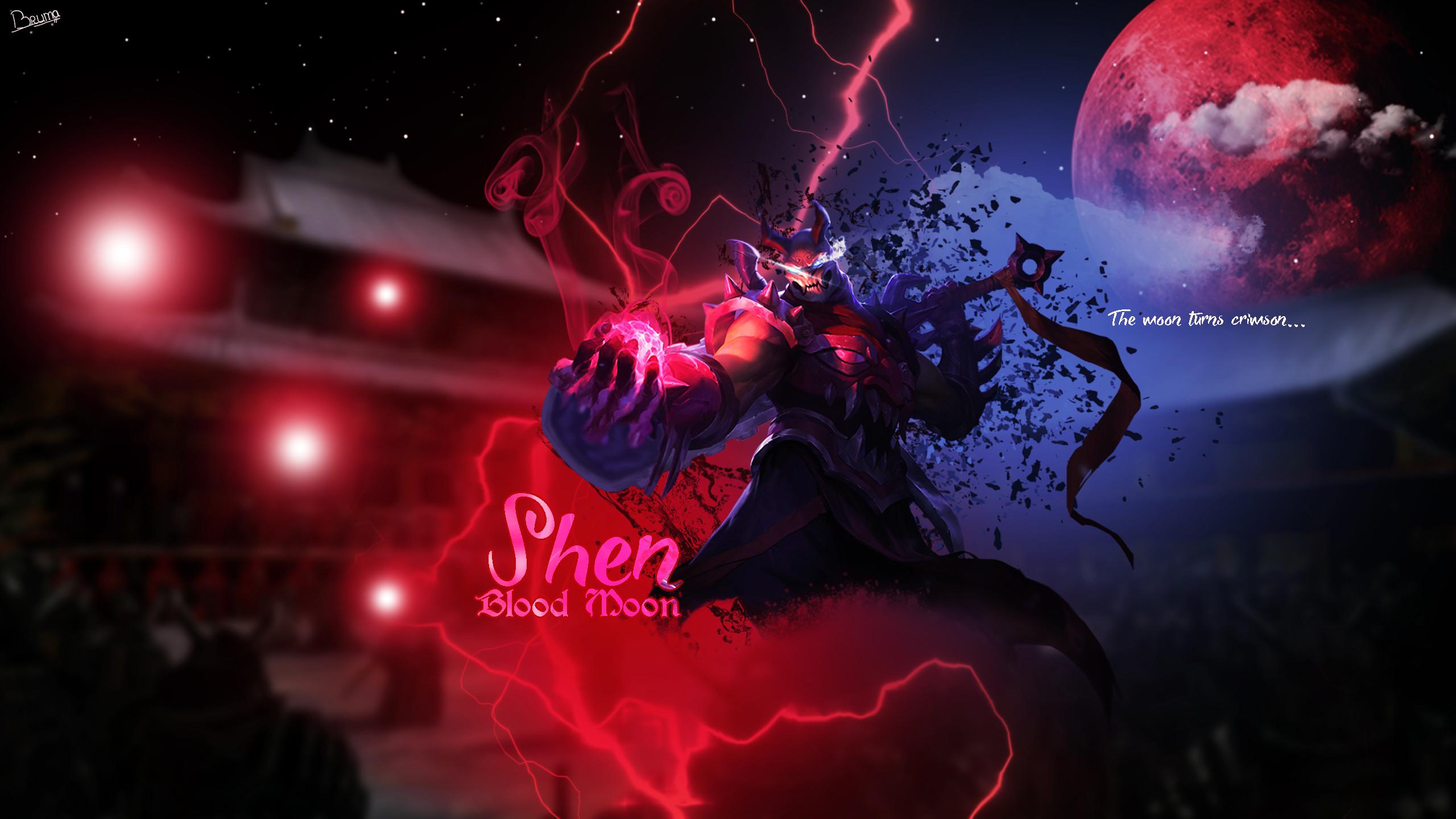 Res: 2560x1440, Blood Moon Shen by Brumskyy HD Wallpaper Fan Art Artwork League of Legends  lol