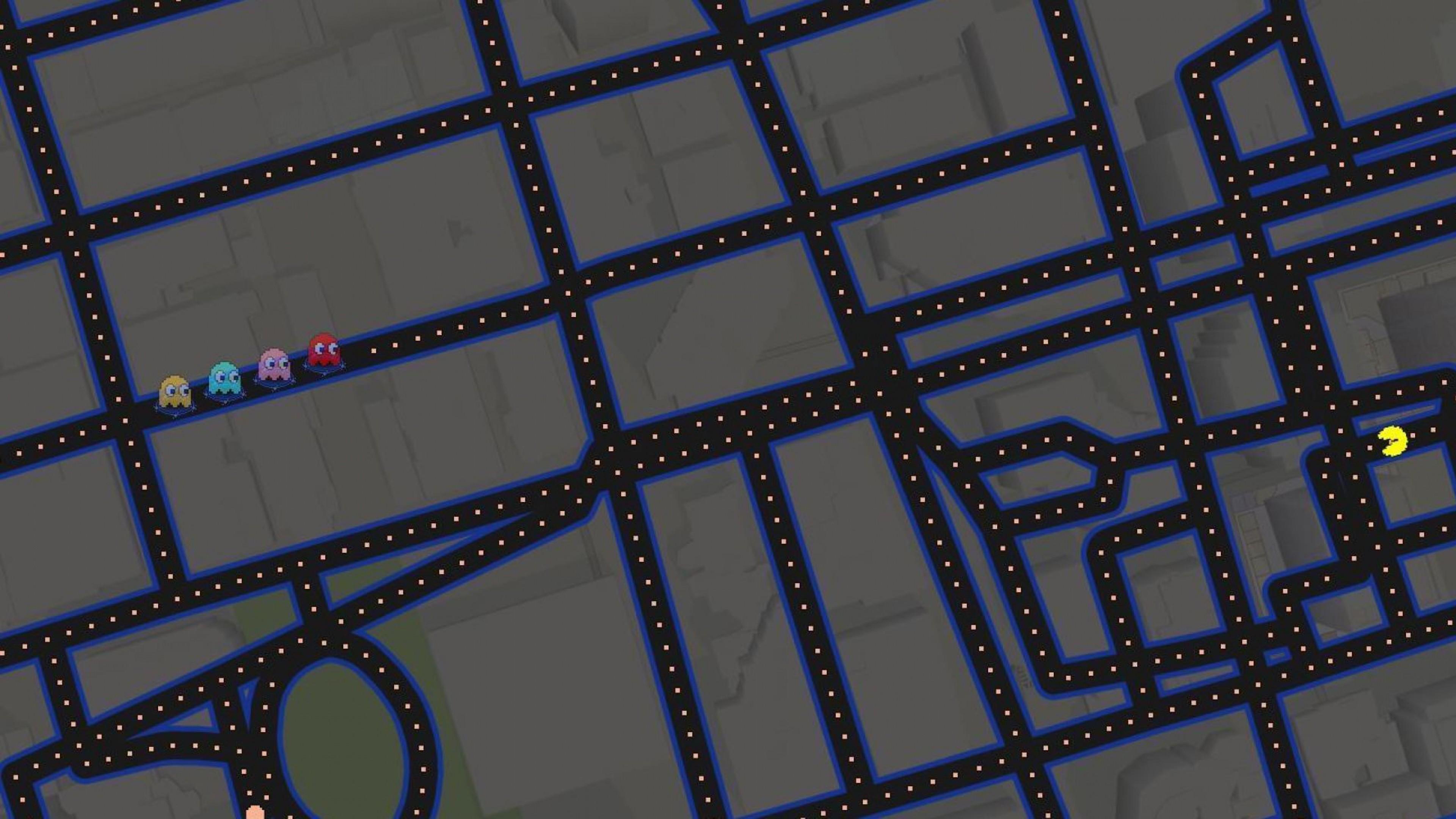 Res: 3840x2160, Google Maps Pacman Art 4k