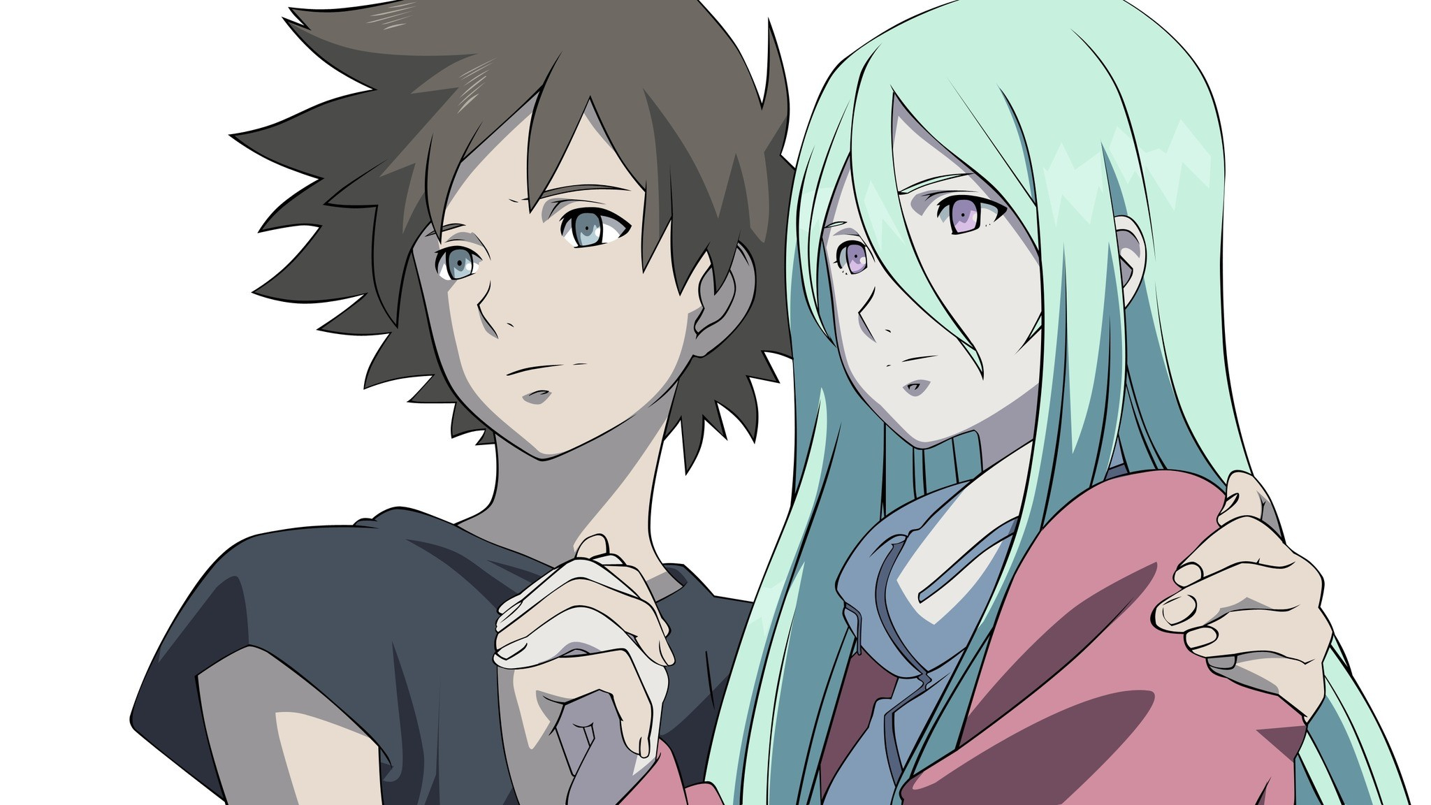 Res: 2048x1152,  Wallpaper eureka seven, boy, girl, touch, smile, look