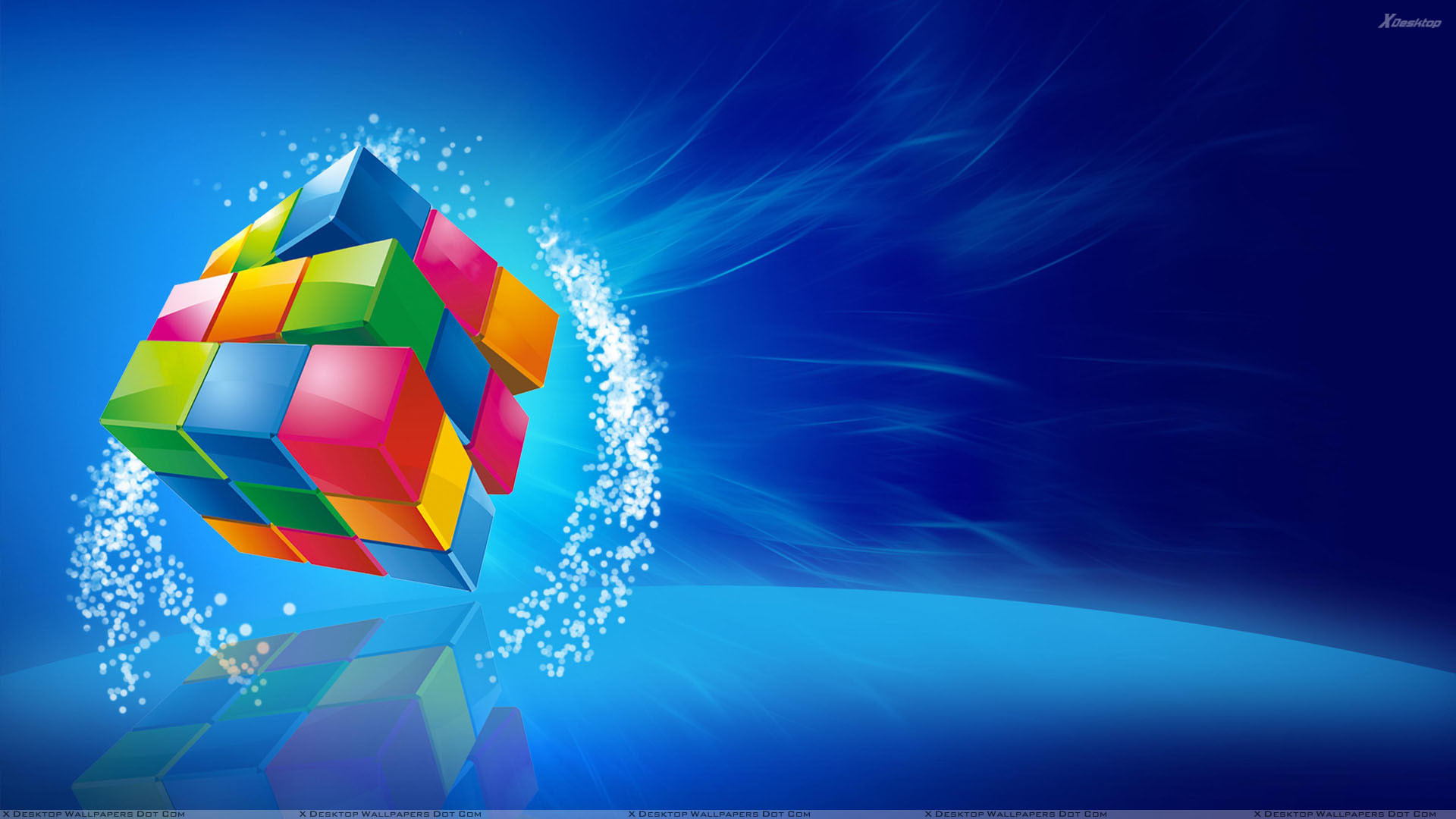 Res: 1920x1080, Color Cube On Blue Background