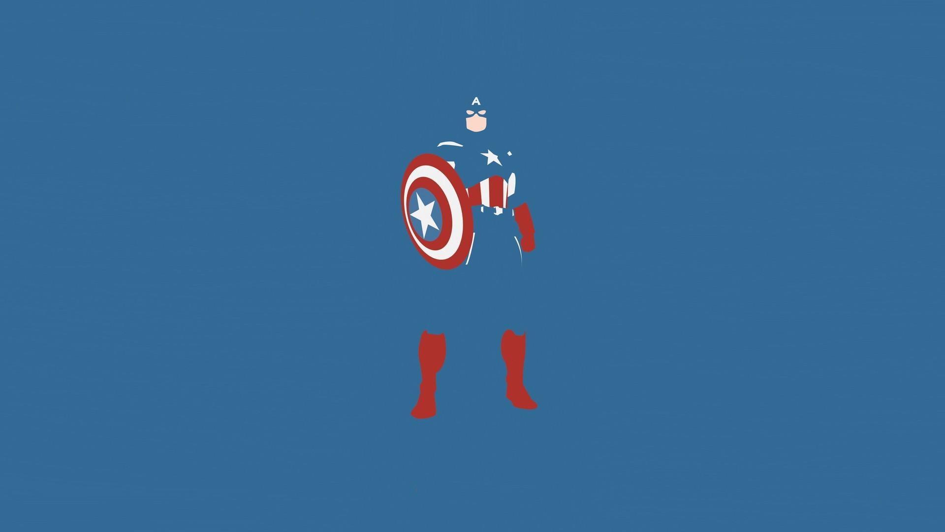 Res: 1920x1080, Minimalistic comics Captain America blue background wallpaper       63285   WallpaperUP