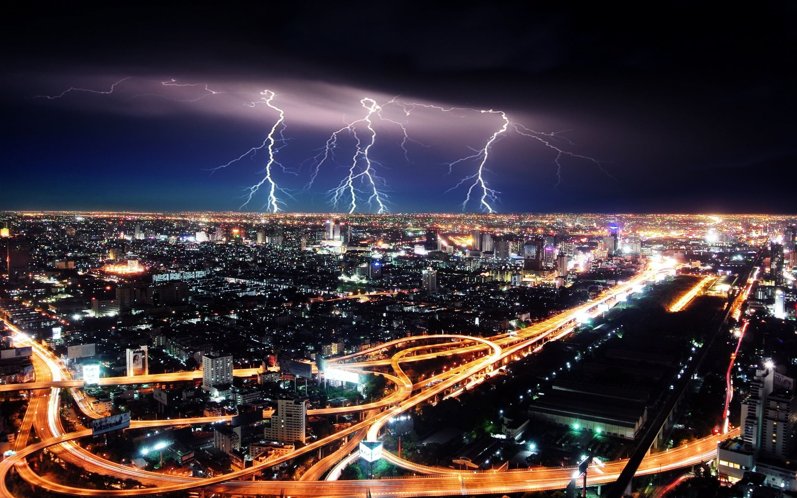 Res: 2560x1600,  Lightning Striking the City - HD Wallpaper. ImgPrix.com - High  Definition Wallpapers