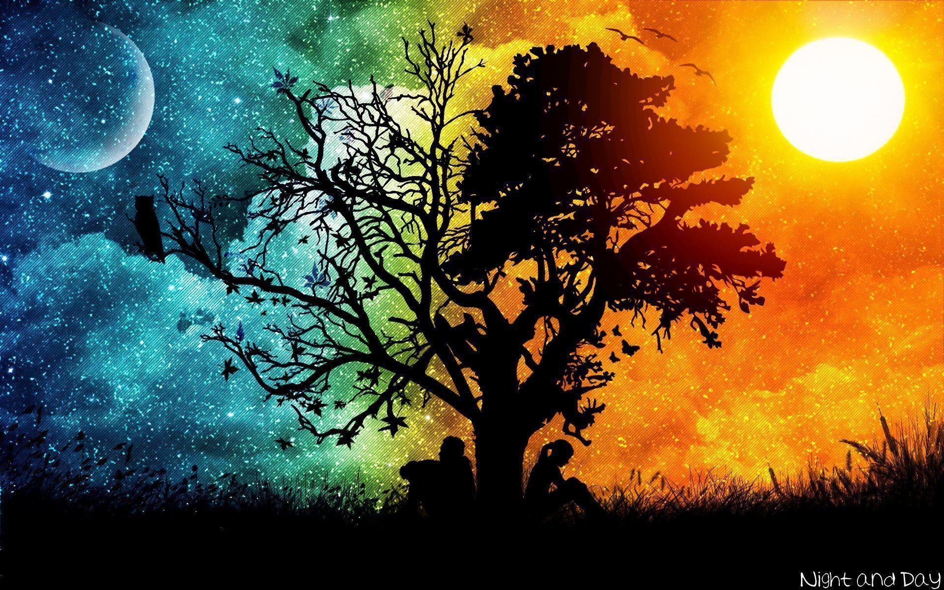 Res: 1920x1200, Tree silhouette wallpaper - 984405