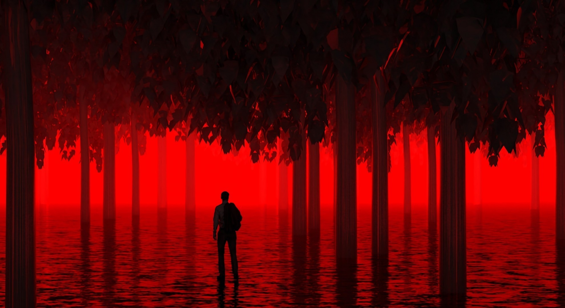 Res: 1980x1080, Red Forest, Thriller, Man Silhouette