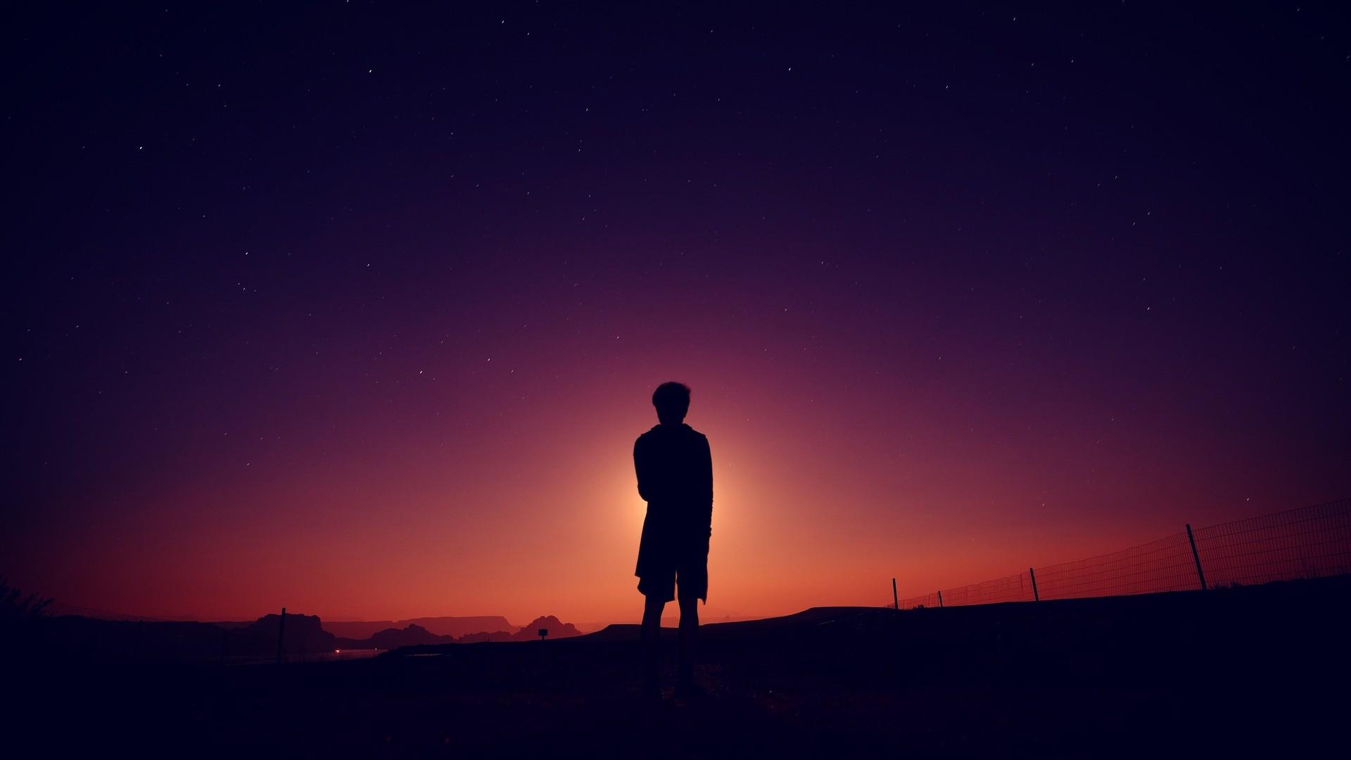 Res: 1920x1080,  Wallpaper silhouette, man, night