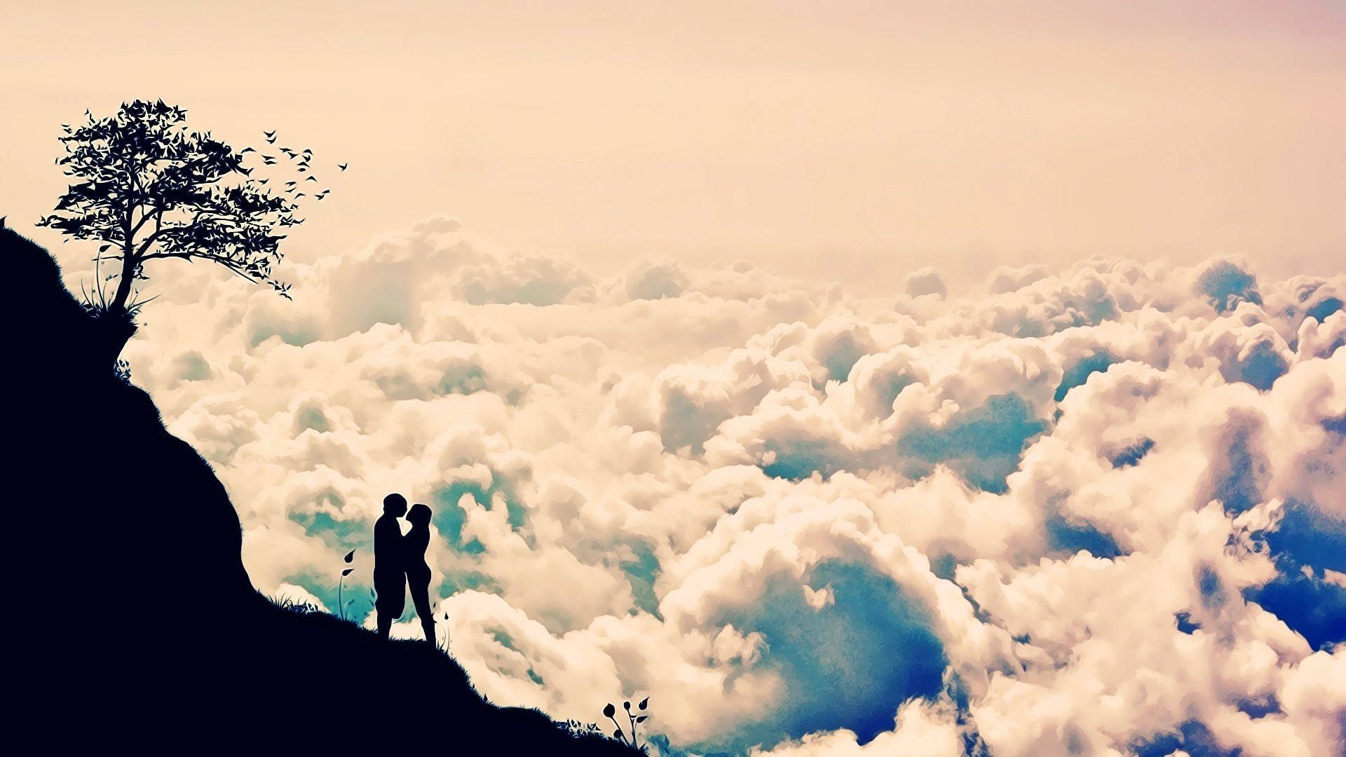 Res: 1920x1080, love, Silhouette, Clouds, Cliff Wallpapers HD / Desktop and Mobile  Backgrounds