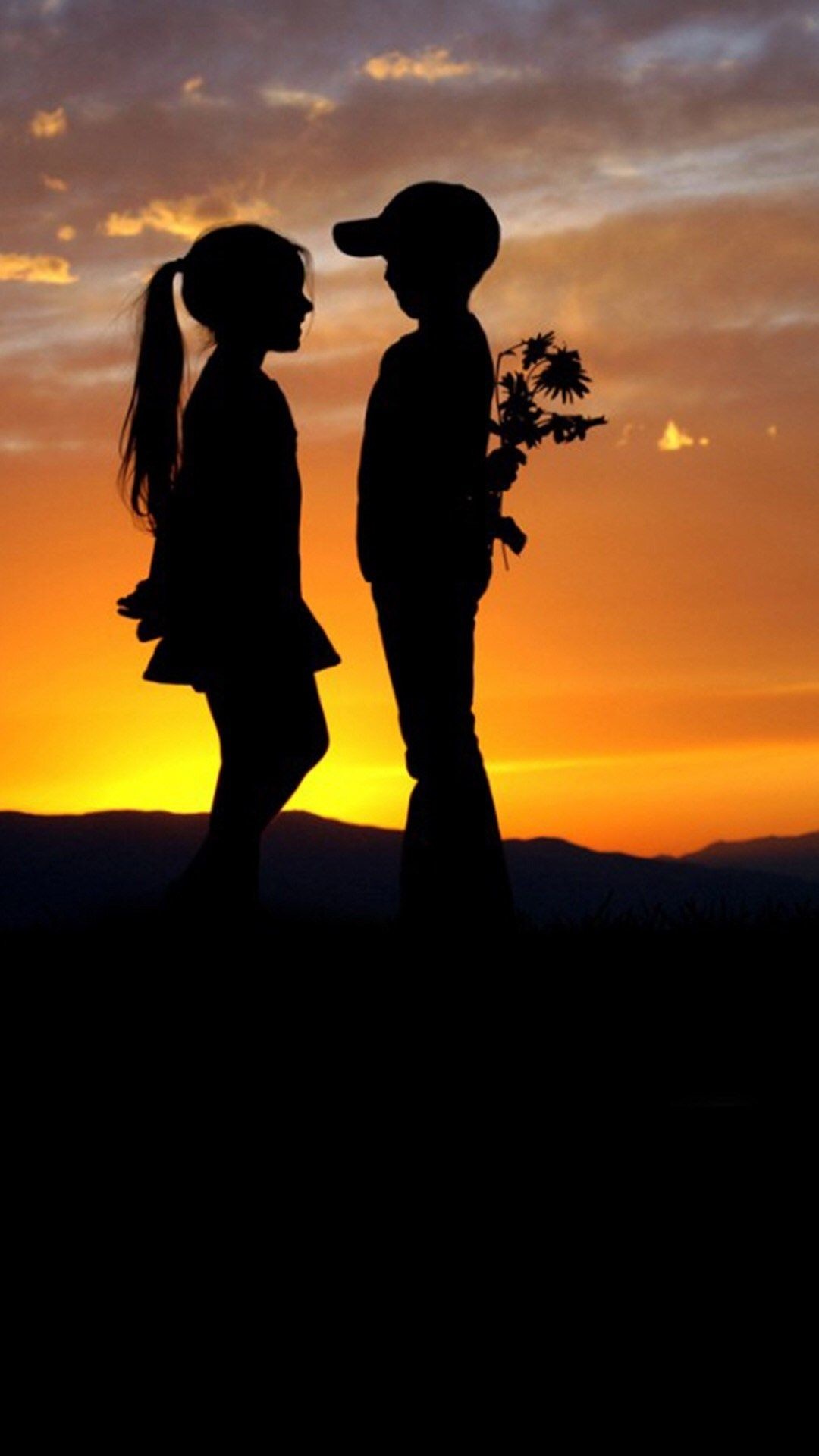 Res: 1080x1920, Mountain Top Cute Lovely Kids Silhouette Romantic Scene #iPhone #6 # wallpaper