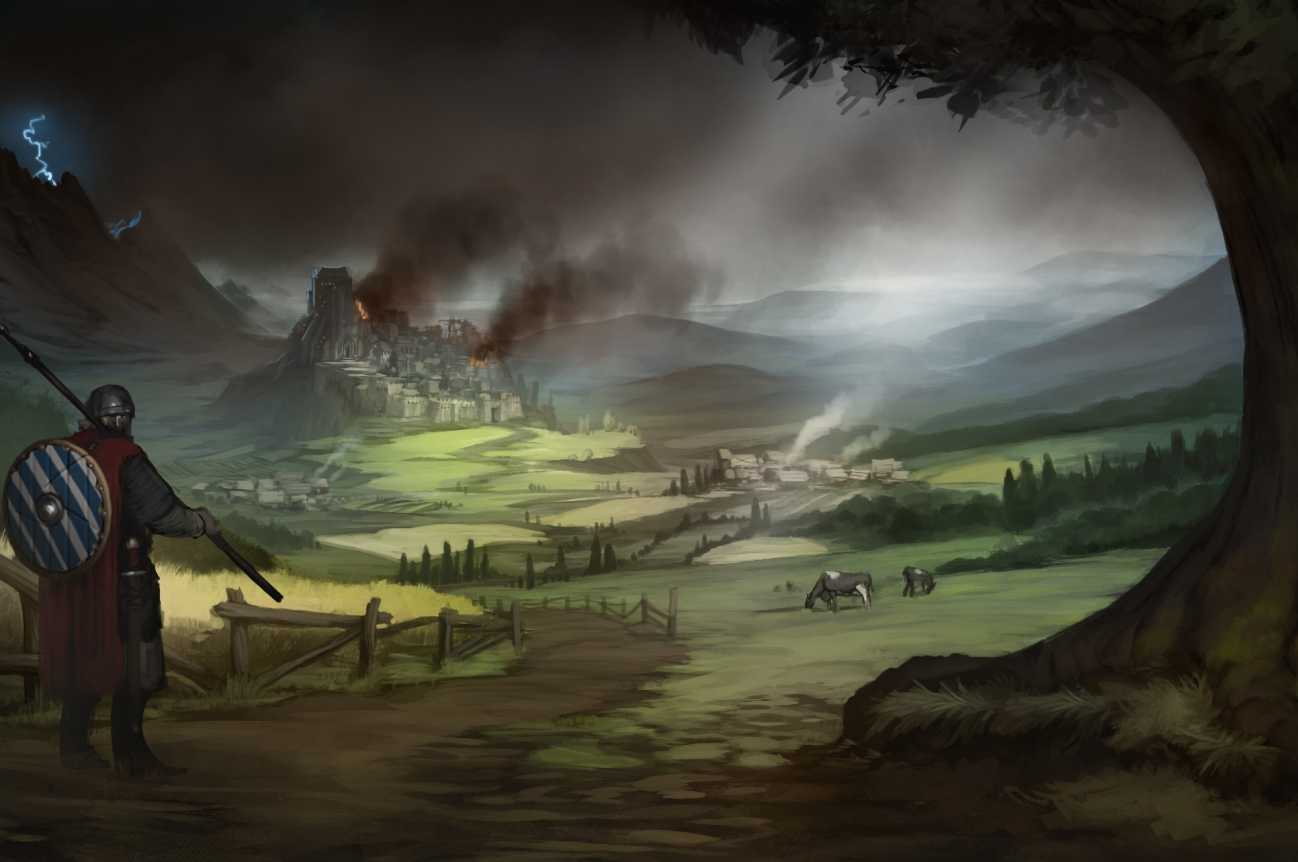 Res: 2560x1700, Castle, Knight, Animals, Fire, Shield, Fantasy World