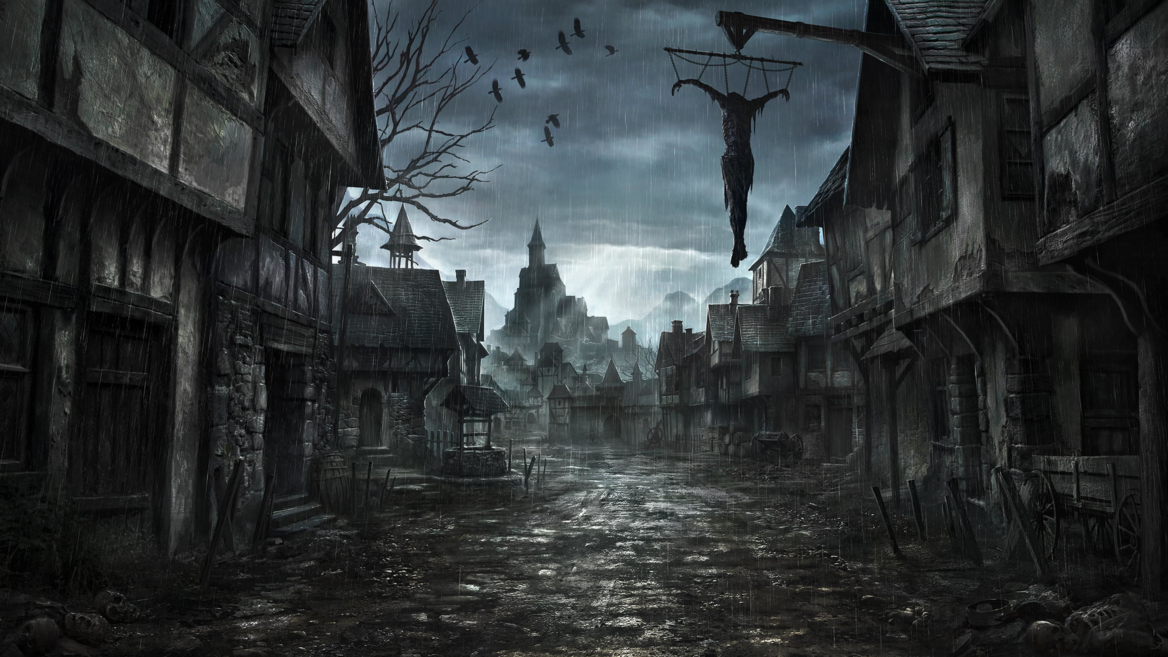 Res: 3840x2160, Painting, Darkness, Dark Fantasy, Capital City, Fantasy World HD Wallpaper,  City Picture, Background and Image