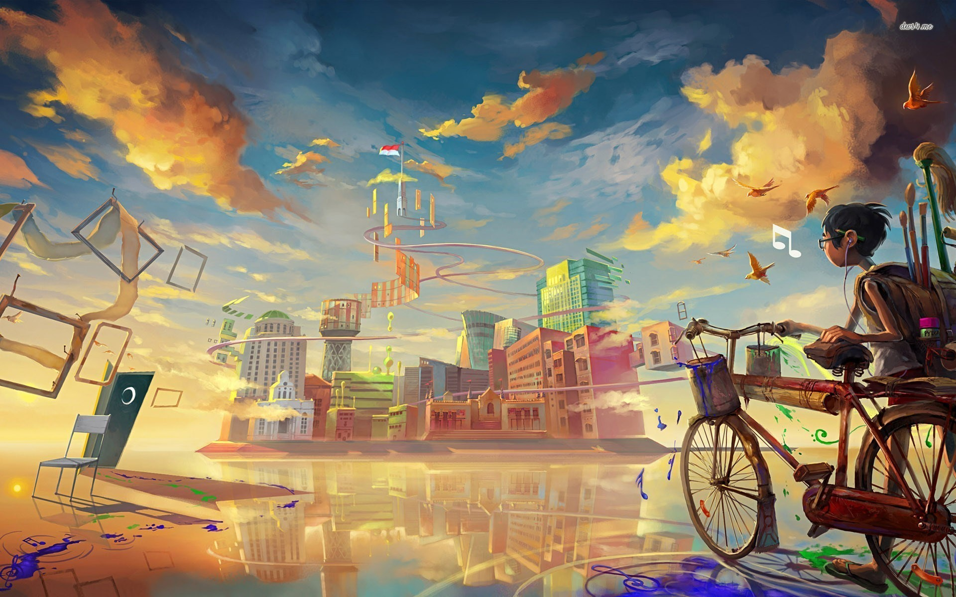 Res: 1920x1200, ... Painting a fantasy world wallpaper  ...