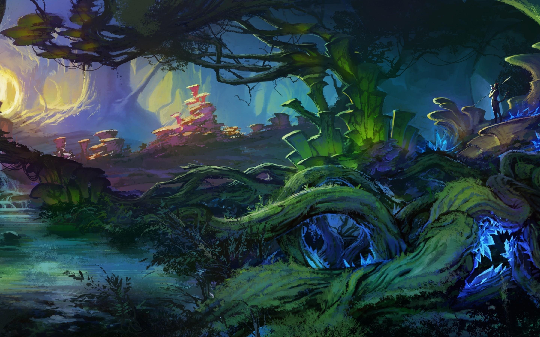 Res: 2880x1800, art, Landscape, Fantasy, World, Bush, Plants, Trees, Roots, Creek, Forest,  Magical 4K HD wallpaper |