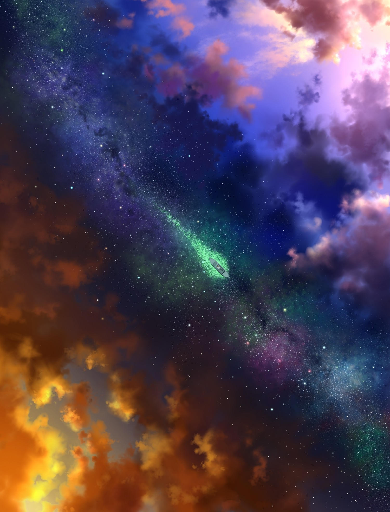 Res: 1500x1969, Boat, Stars And Clouds, Two Dimension, Fantasy World