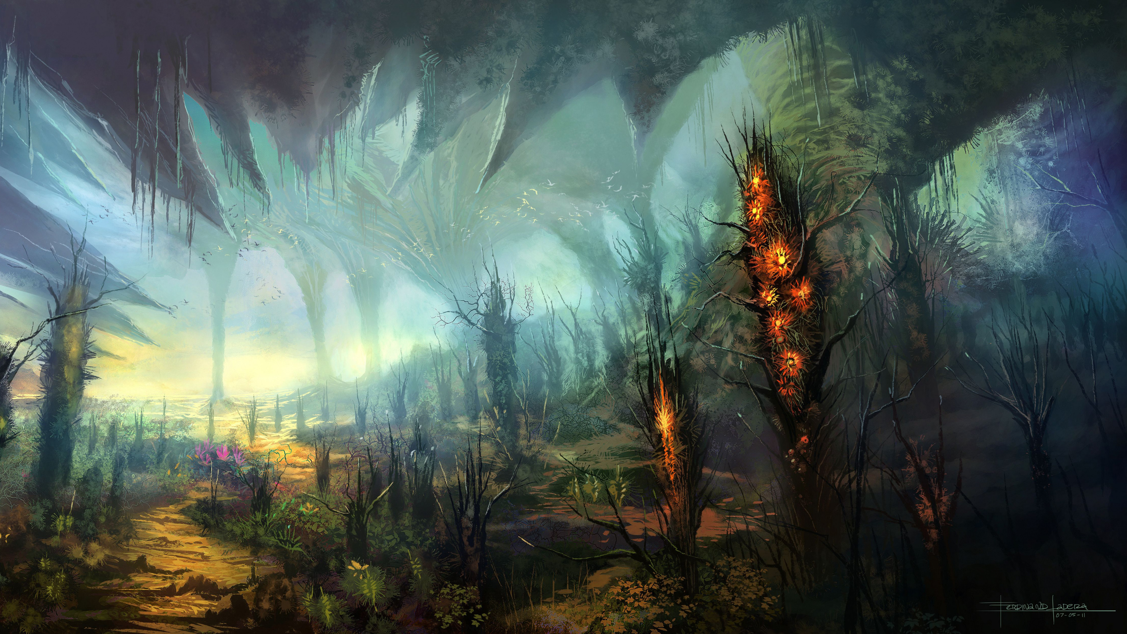 Res: 3840x2160, Science Fiction, World, Fantasy World, Atmosphere, Tree Wallpaper in   Resolution