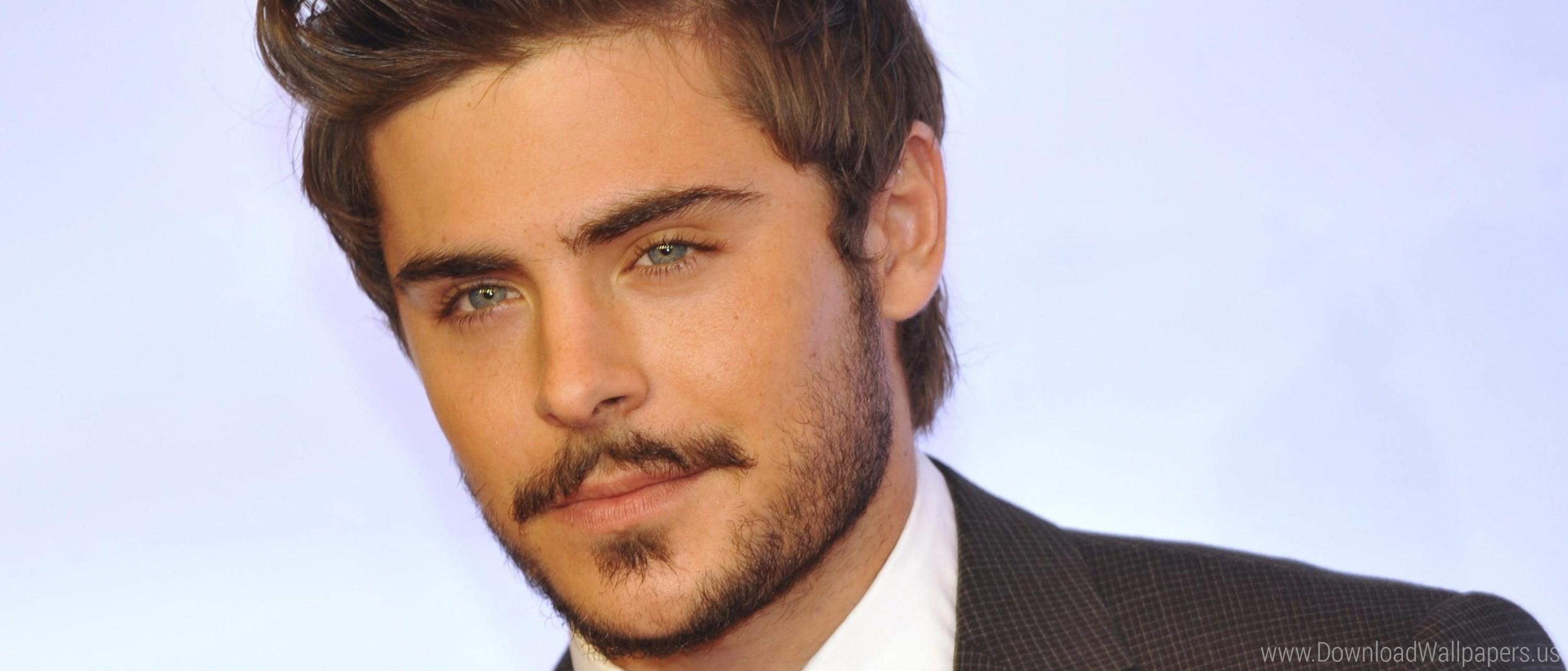 Res: 2520x1080, Download Wide 21:9  - Actor, Beard, Brunette, Celebrity, Mustache,  Suit, Zac Efron Wallpaper