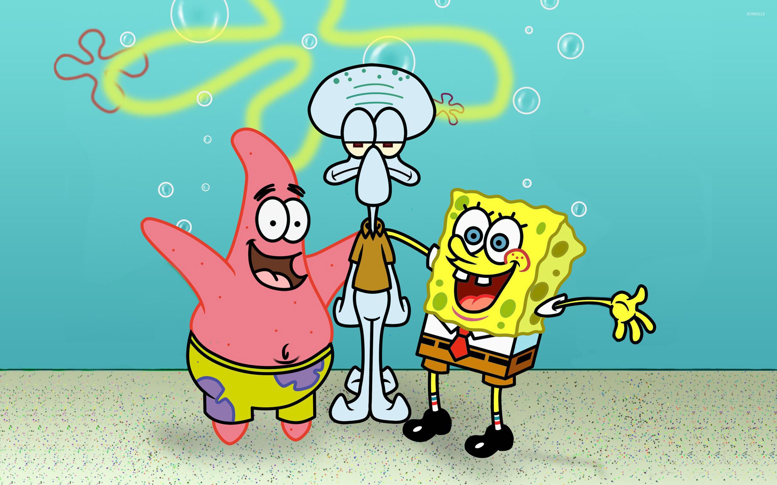 Res: 2560x1600, SpongeBob, Patrick and Squidward wallpaper