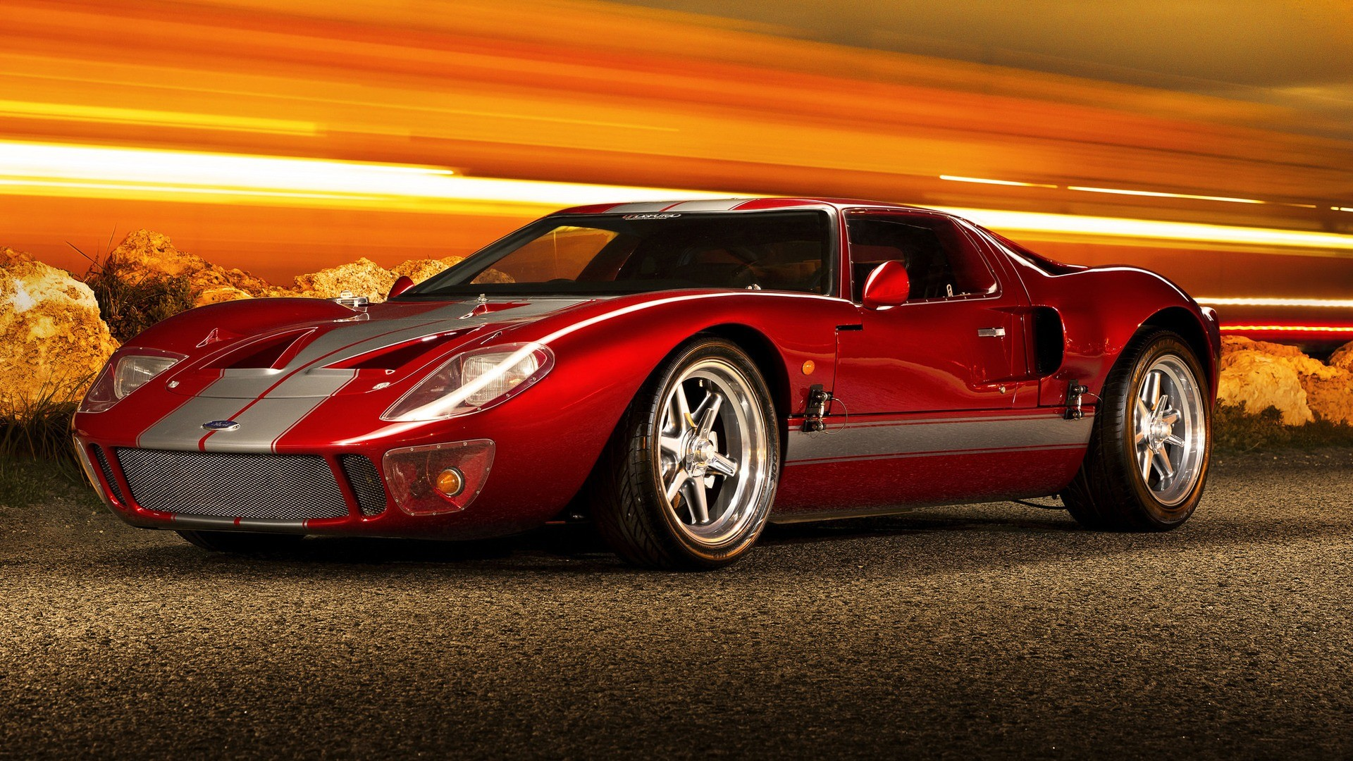 Res: 1920x1080,  Wallpaper ford, gt40, supercar, red, side view