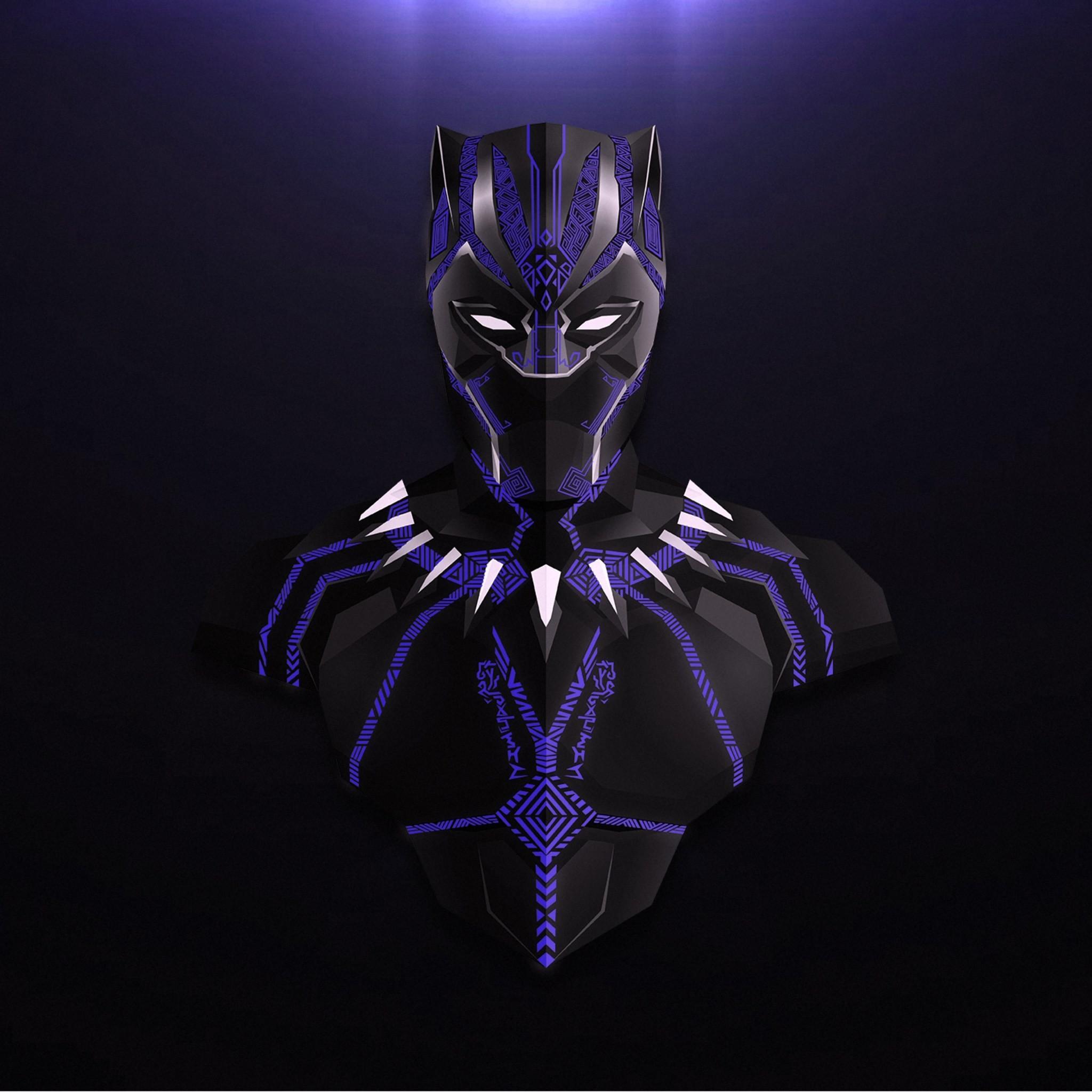Res: 2048x2048, avengers infinity war black panther minimalism ez