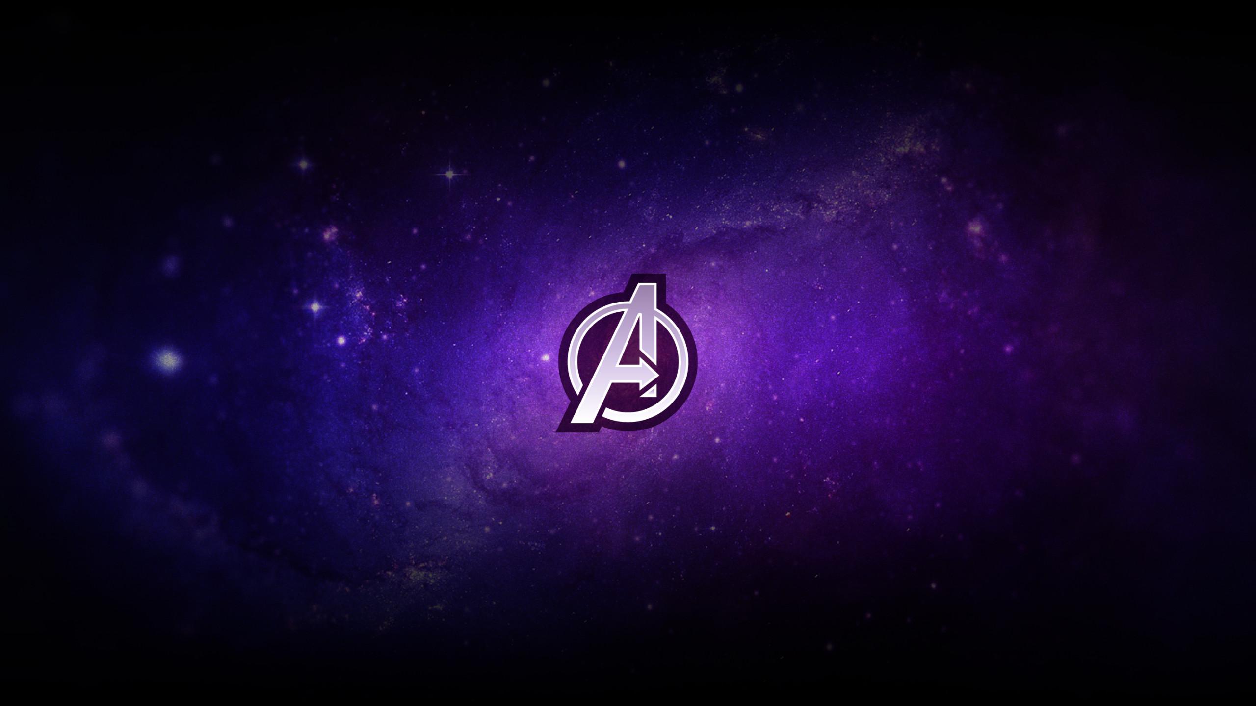 Res: 2560x1440, Avengers, logo, purple, minimal,  wallpaper