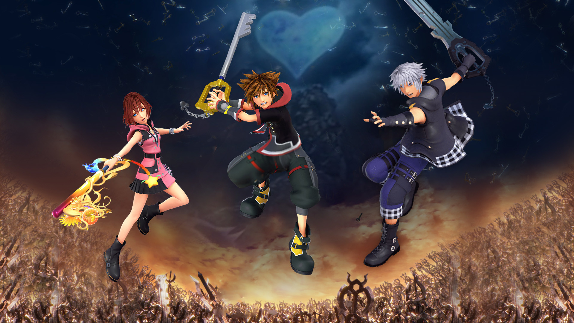 Res: 1920x1080, ... Kingdom Hearts III - Sora Riku Kairi Wallpaper by The-Dark-Mamba-995