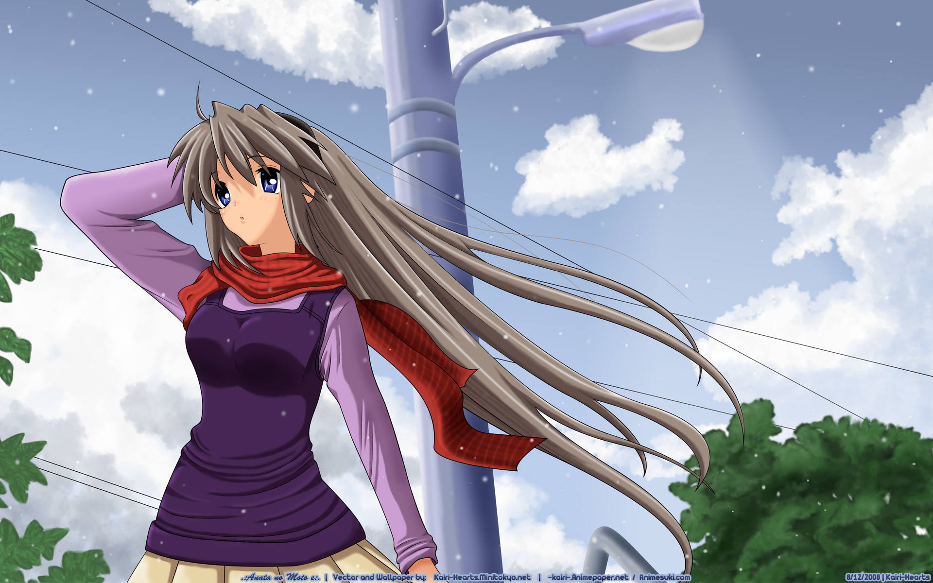 Res: 1920x1200, Tags: Anime, Kairi-hearts, CLANNAD, Sakagami Tomoyo, Light Pole,