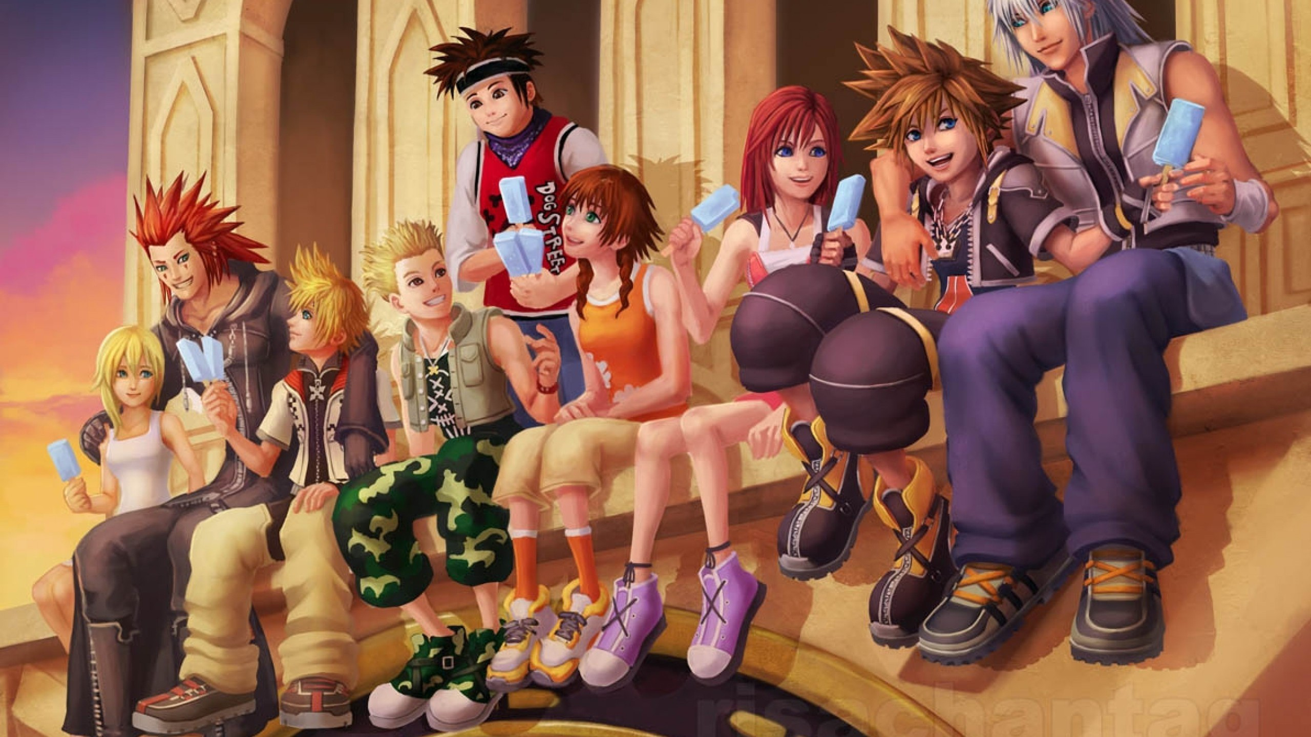 Res: 2560x1440, Kingdom hearts sora kairi lollipops namine olette 1193x840 wallpaper