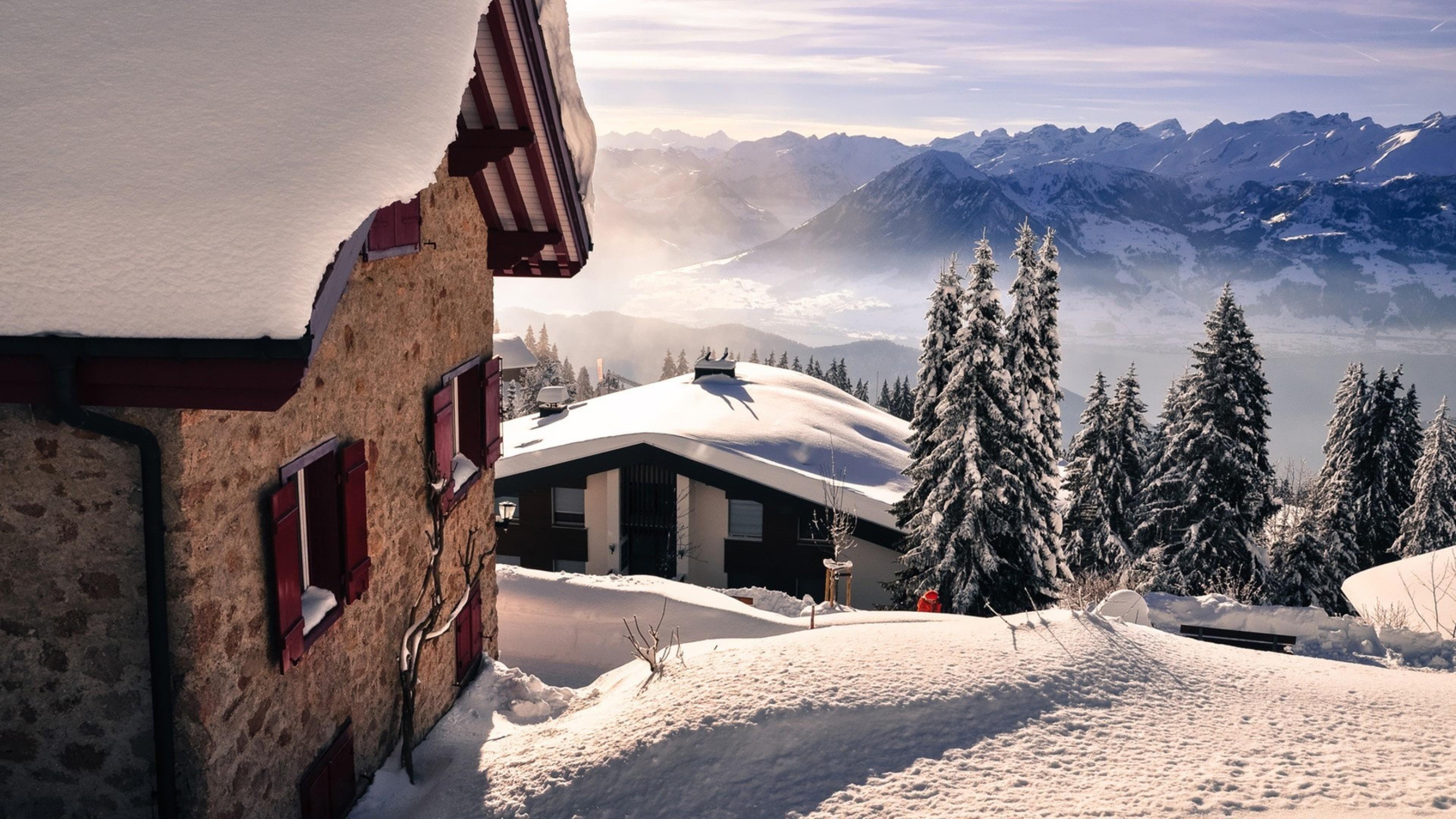 Res: 3840x2160, Snow mountains winter wallpaper HD.