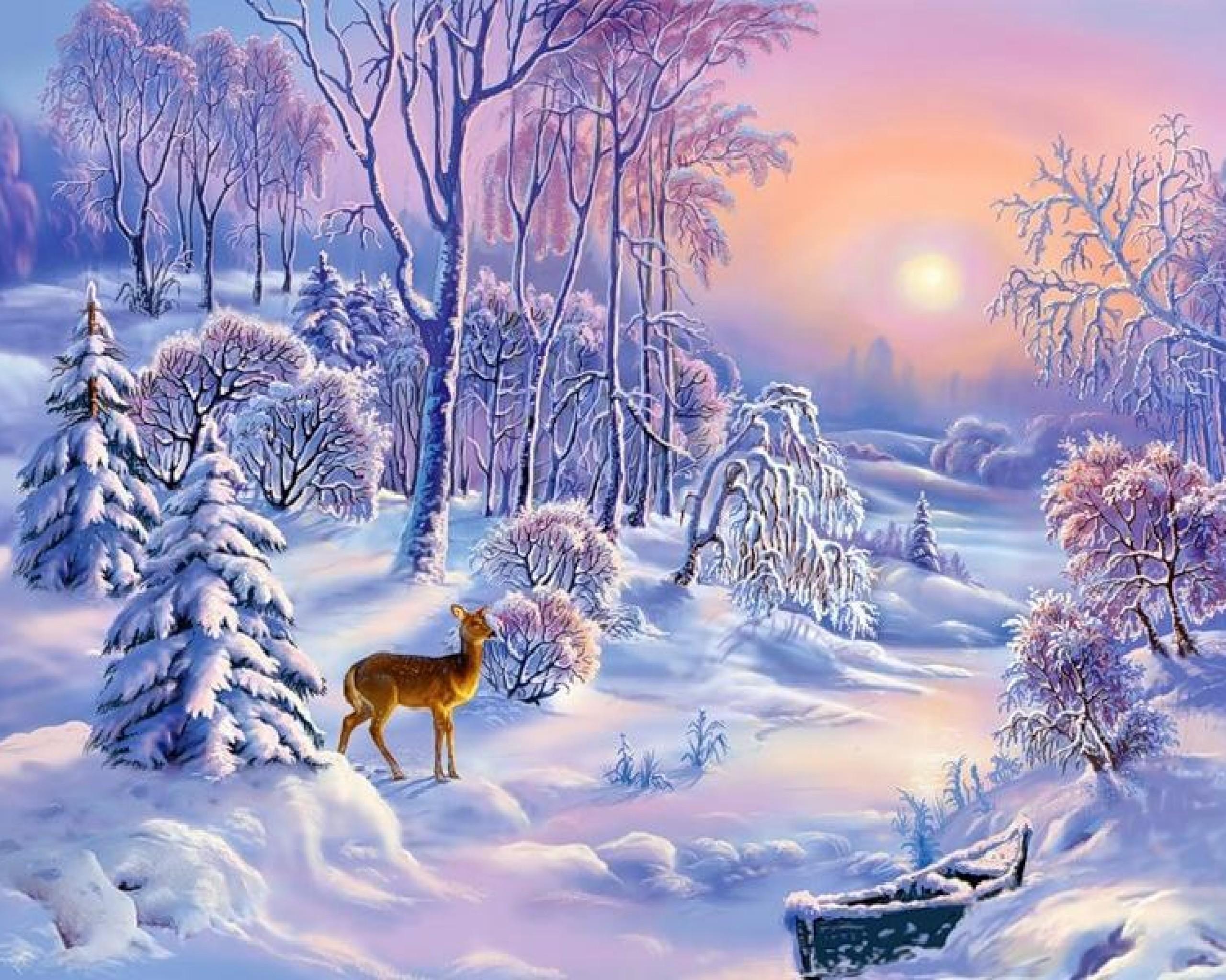 Res: 2560x2048, Christmas Deer Snowfall Wallpaper 2 - 2560 X 2048