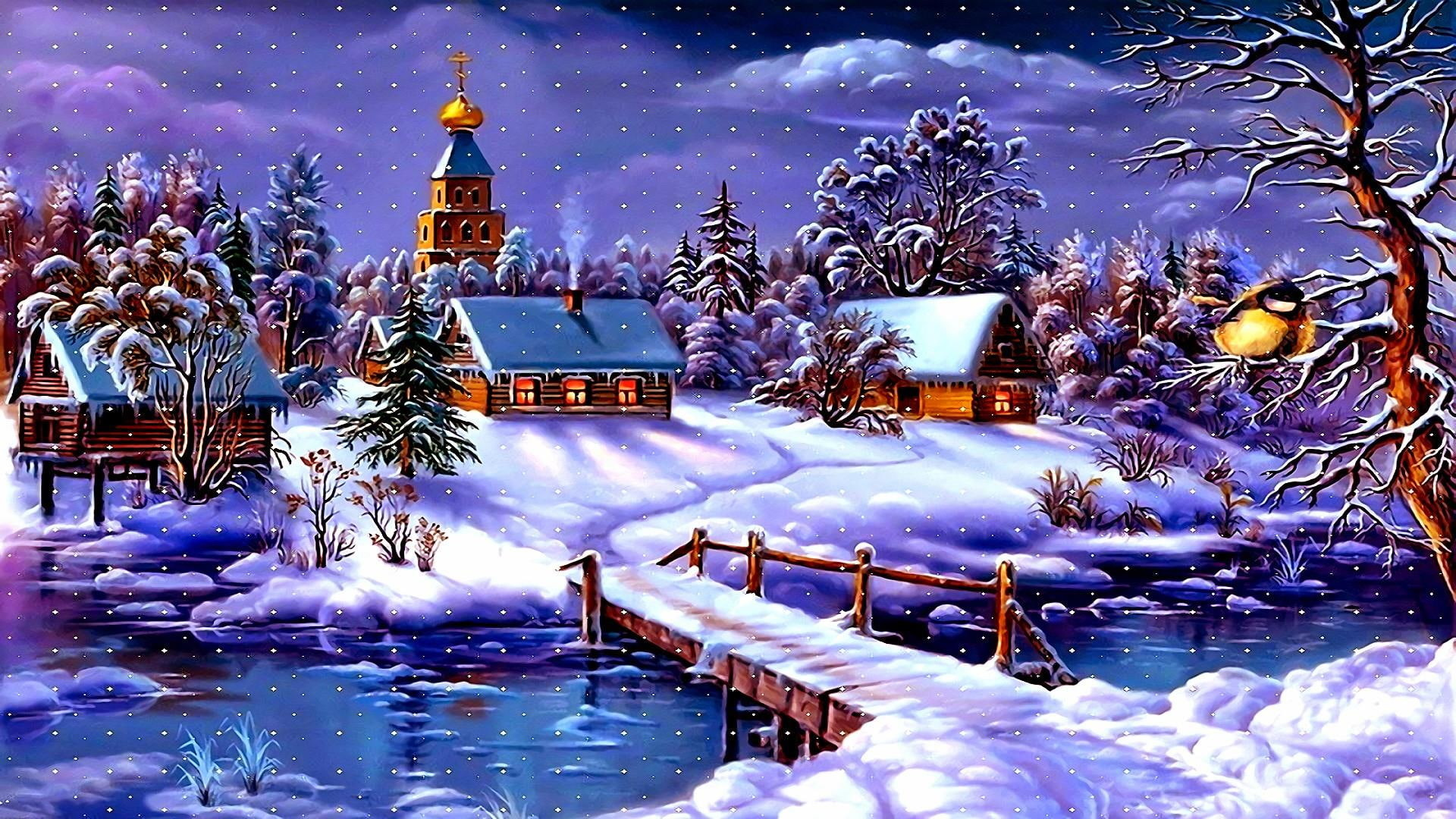 Res: 1920x1080, art, snowy, houses, snowfall, snowing, church, arctic, freezing