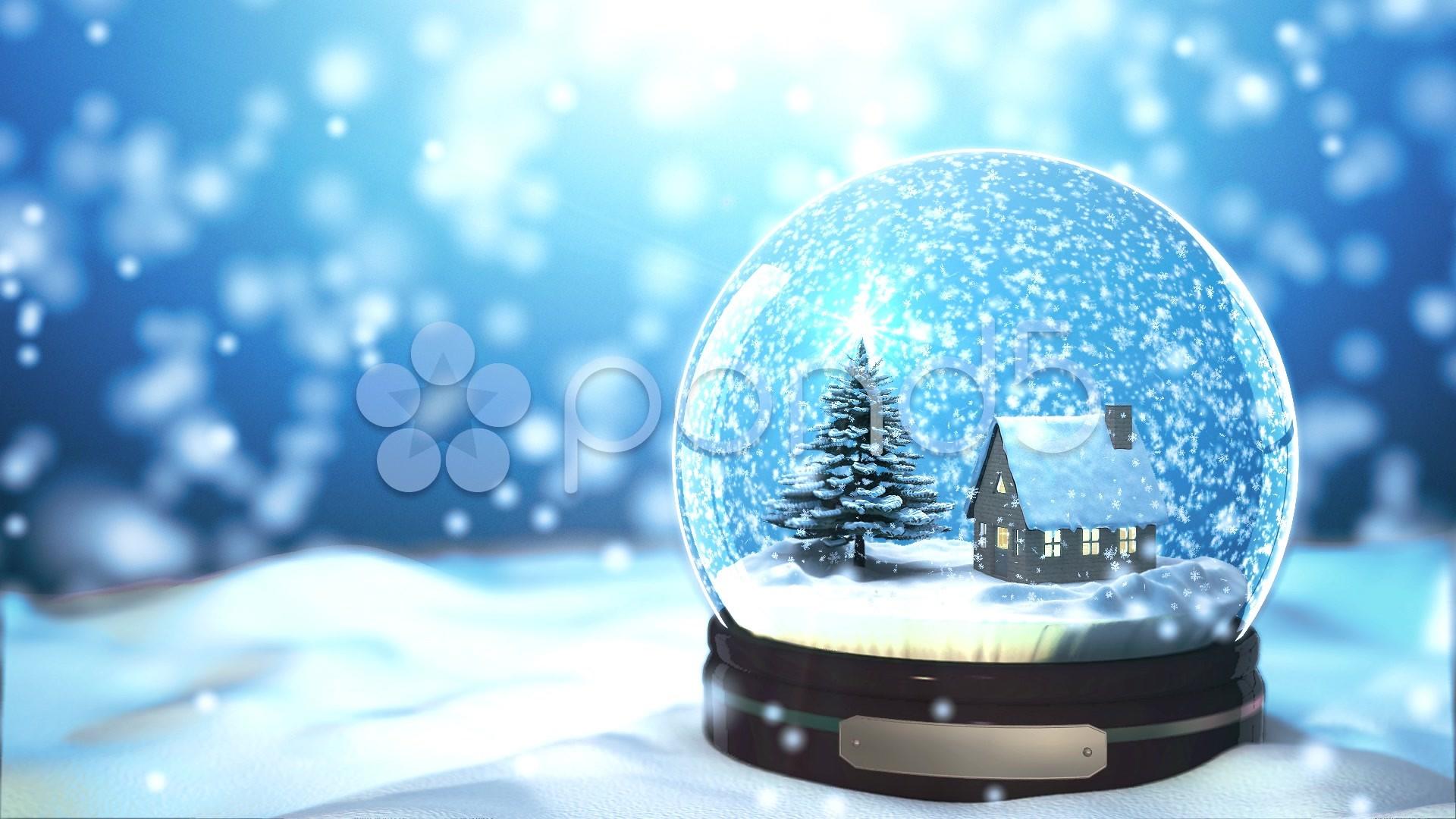 Res: 1920x1080, Christmas Snow globe Snowflake with Snowfall on Blue Background ~ Hi .