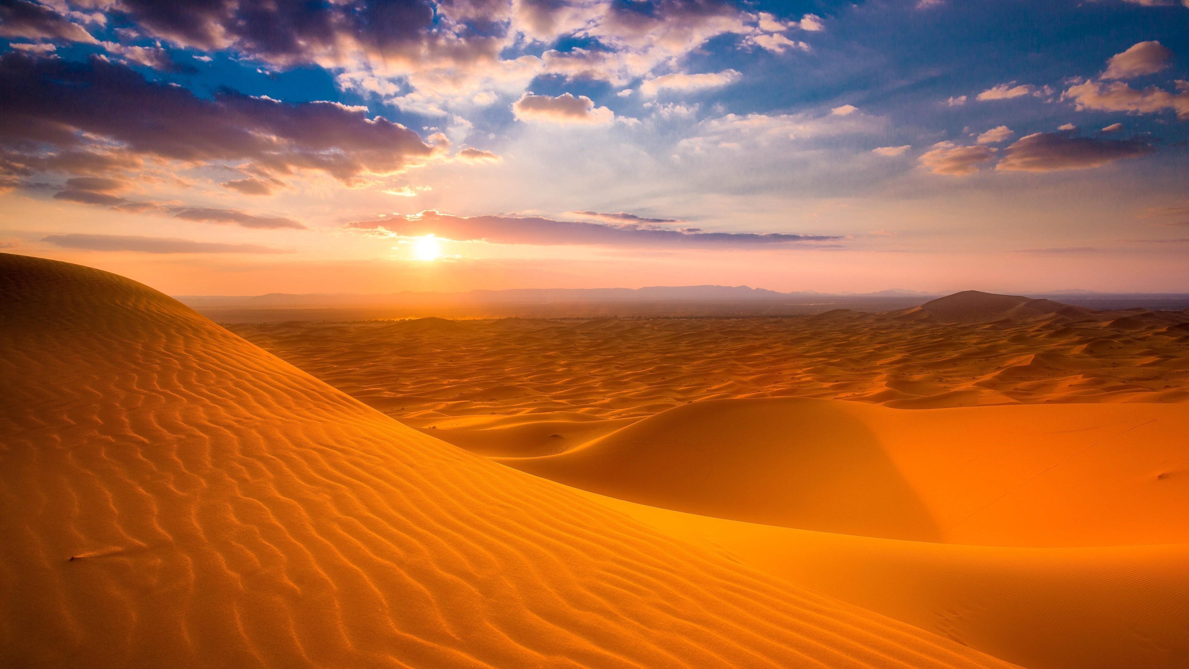 Res: 3840x2160, 4K UltraHD wallpaper icon Sahara Desert sunrise, Morocco wallpaper
