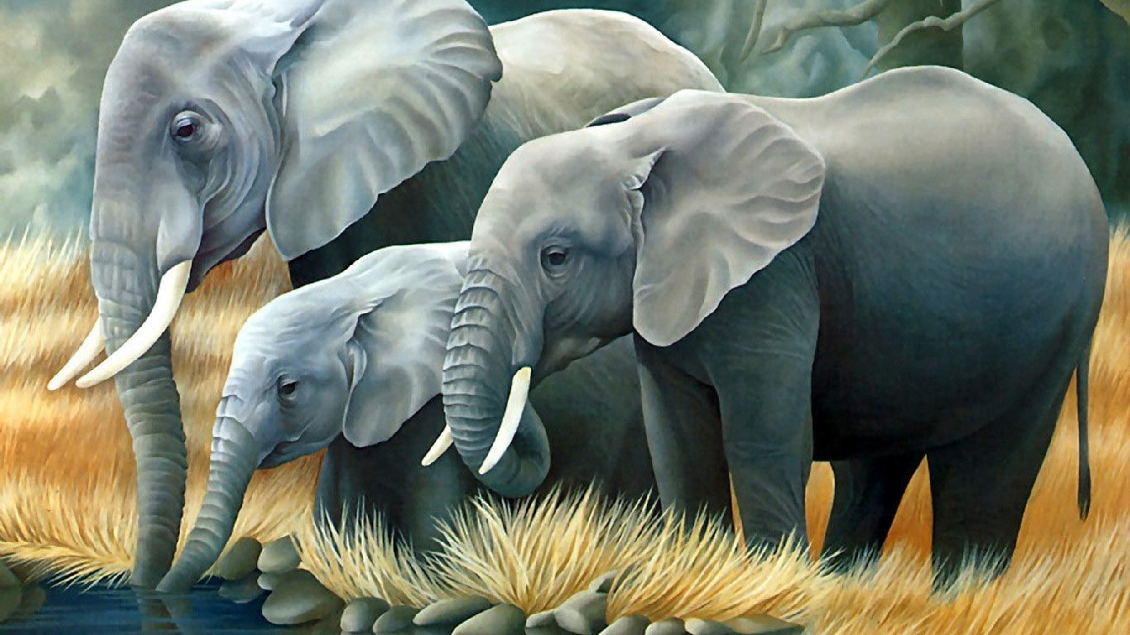 Res: 3840x2160, 4K Wallpaper of 3D Elephant