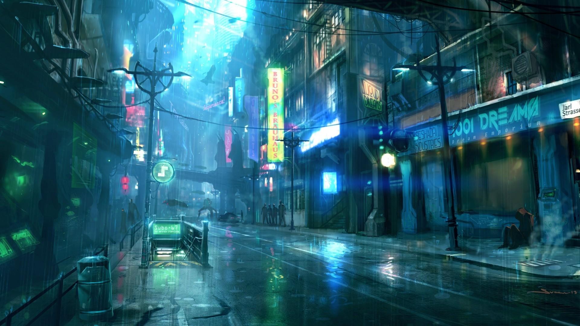 Res: 1920x1080, Sci-fi city at night 1920 × 1080 (i.redd.it)