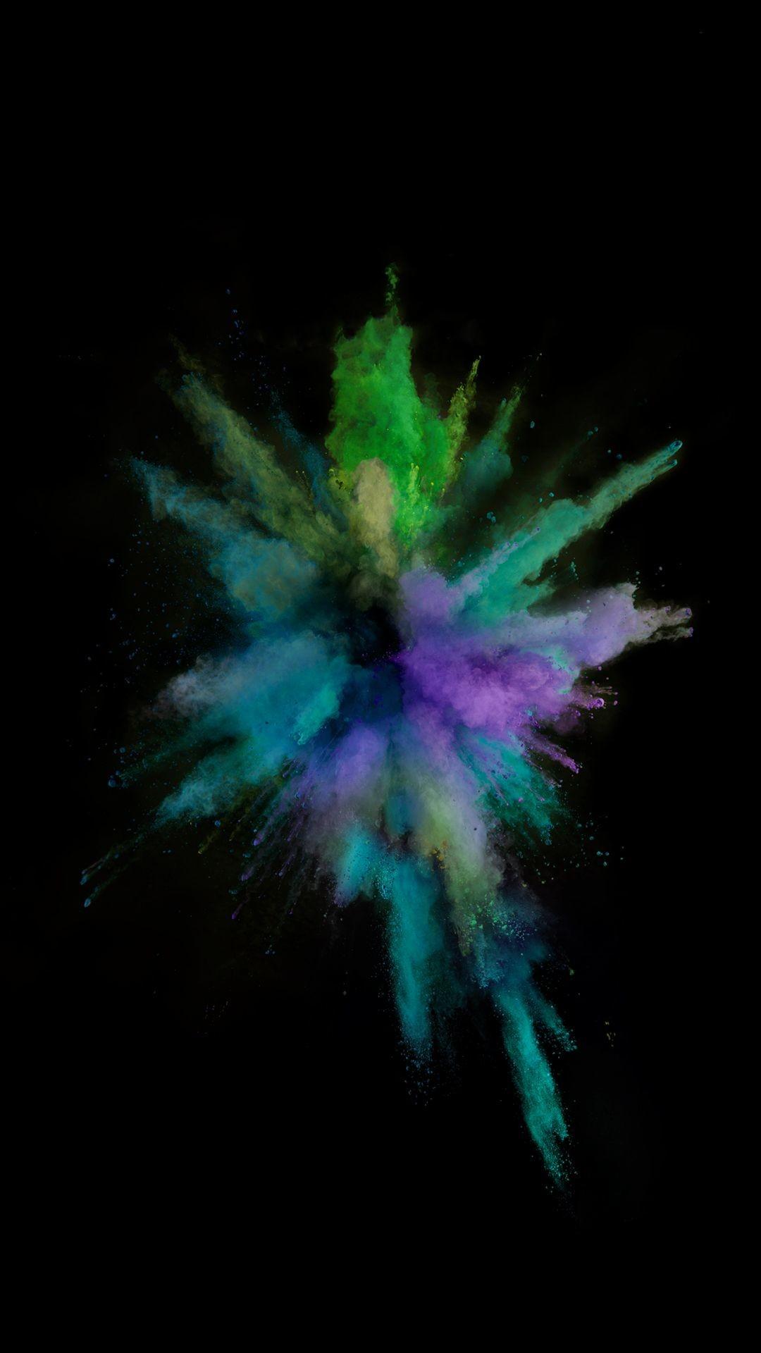 Res: 1080x1920, iOS9 Colorful Smoke Explosion Dark Art #iPhone #6 #wallpaper