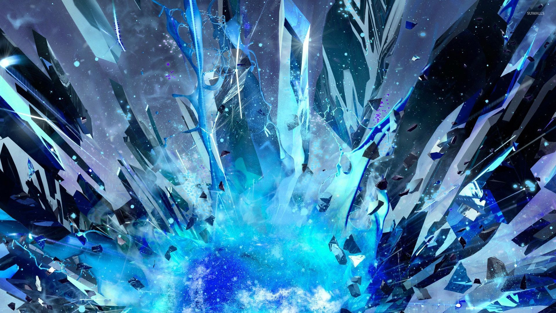 Res: 1920x1080, Blue crystal explosion wallpaper