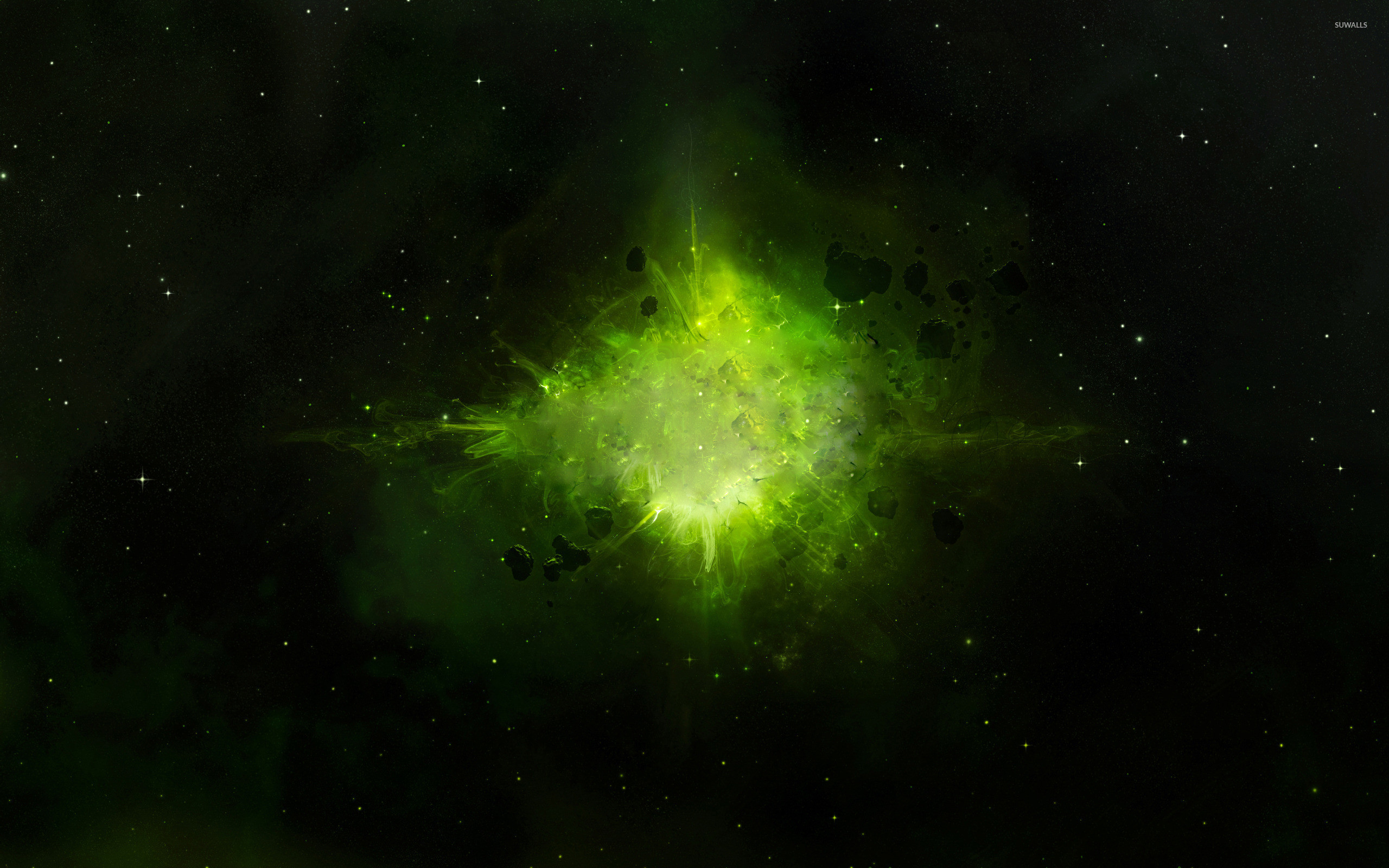 Res: 2560x1600, Green explosion in space wallpaper  jpg