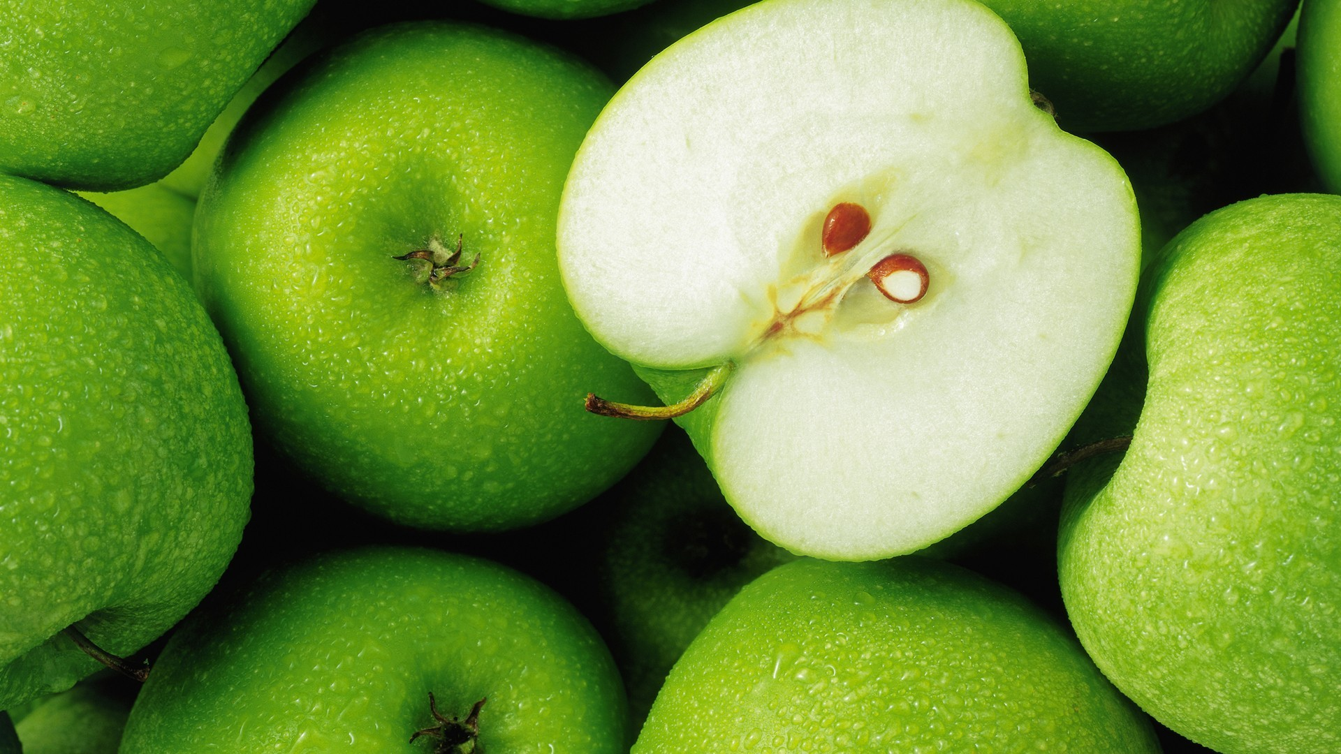 Res: 1920x1080, Green apples background wallpaper