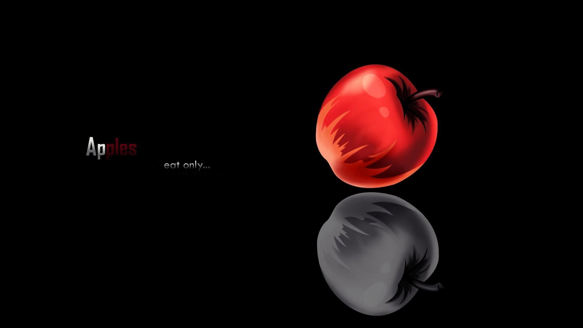 Res: 1920x1080, Death note minimalistic apples wallpaper