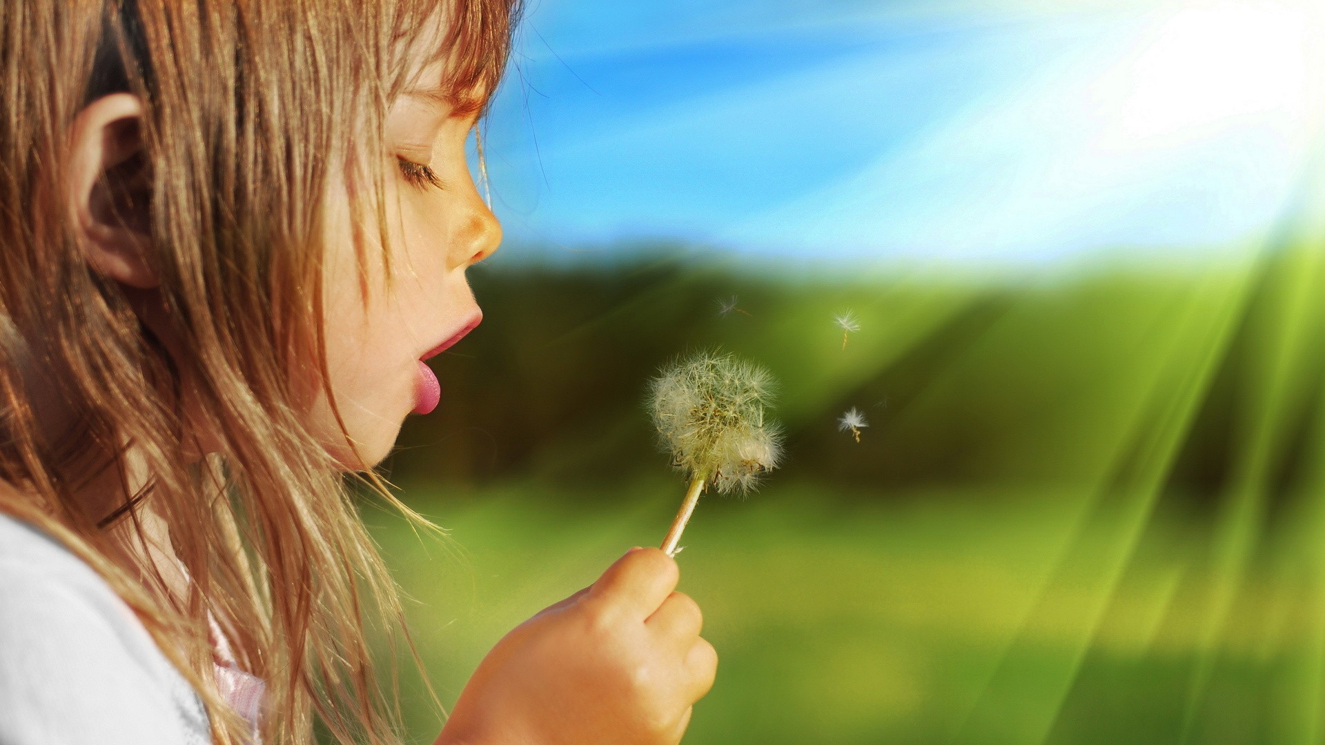 Res: 1920x1080, Girl blowing on a dandelion
