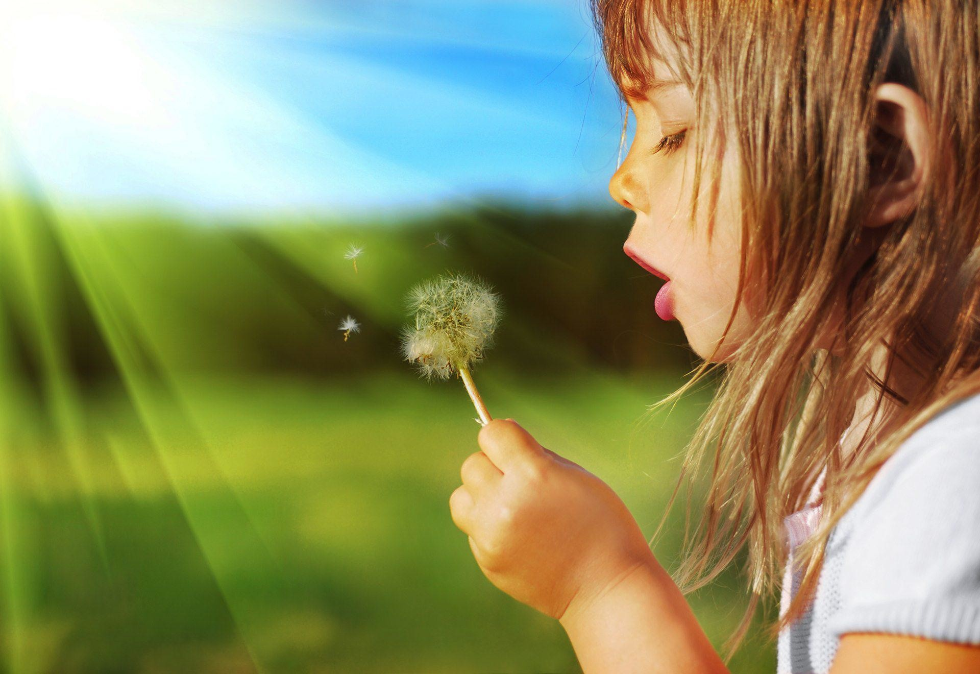Res: 1920x1320, Sweet Child Girl Blowing Dandelion Plant