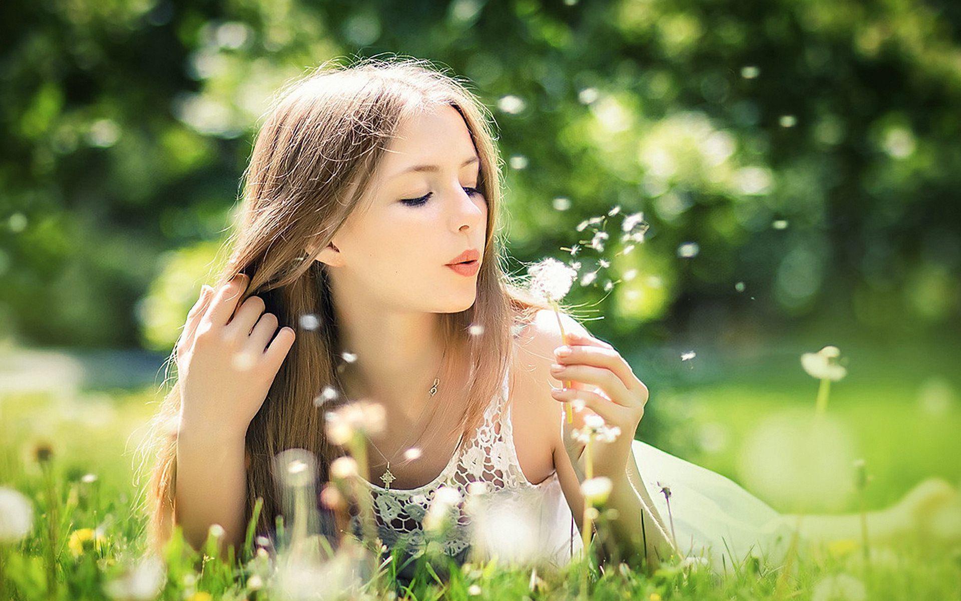 Res: 1920x1200, Girl Blowing Dandelion