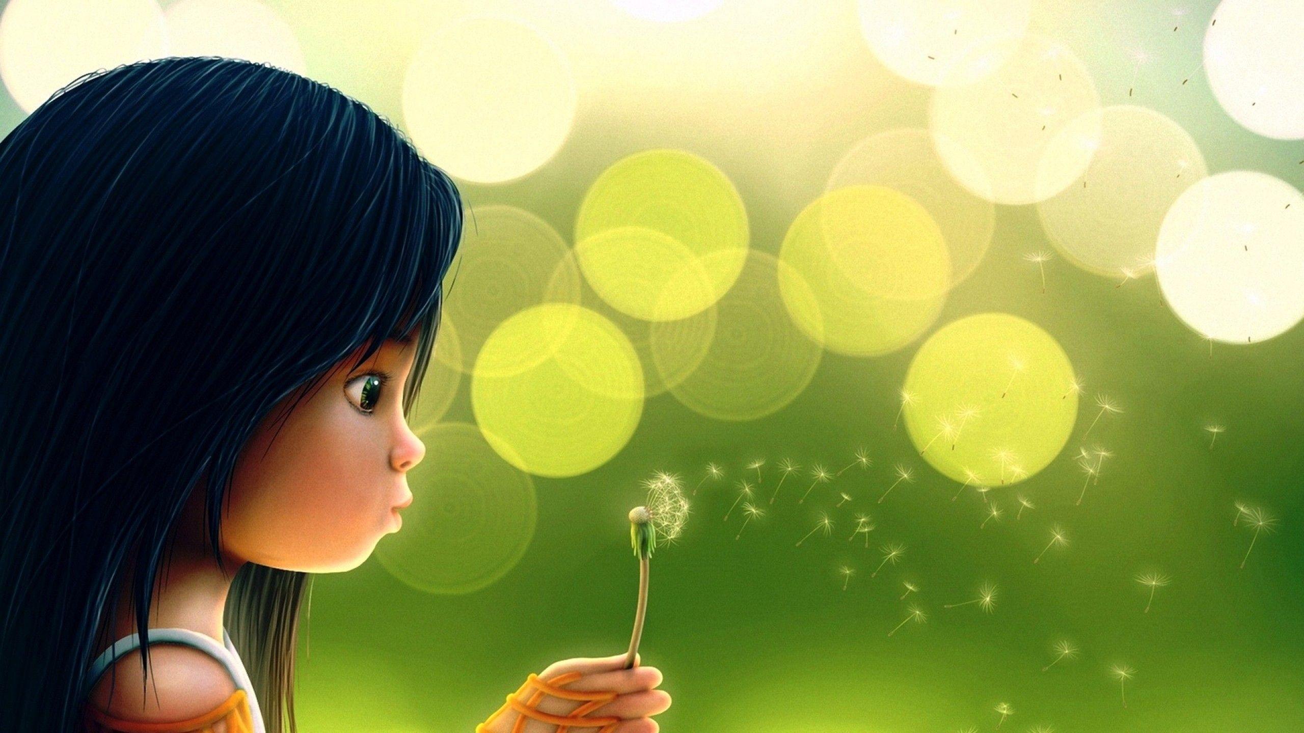 Res: 2560x1440, Download Cute cartoon girl blowing dandelion High quality wallpaper
