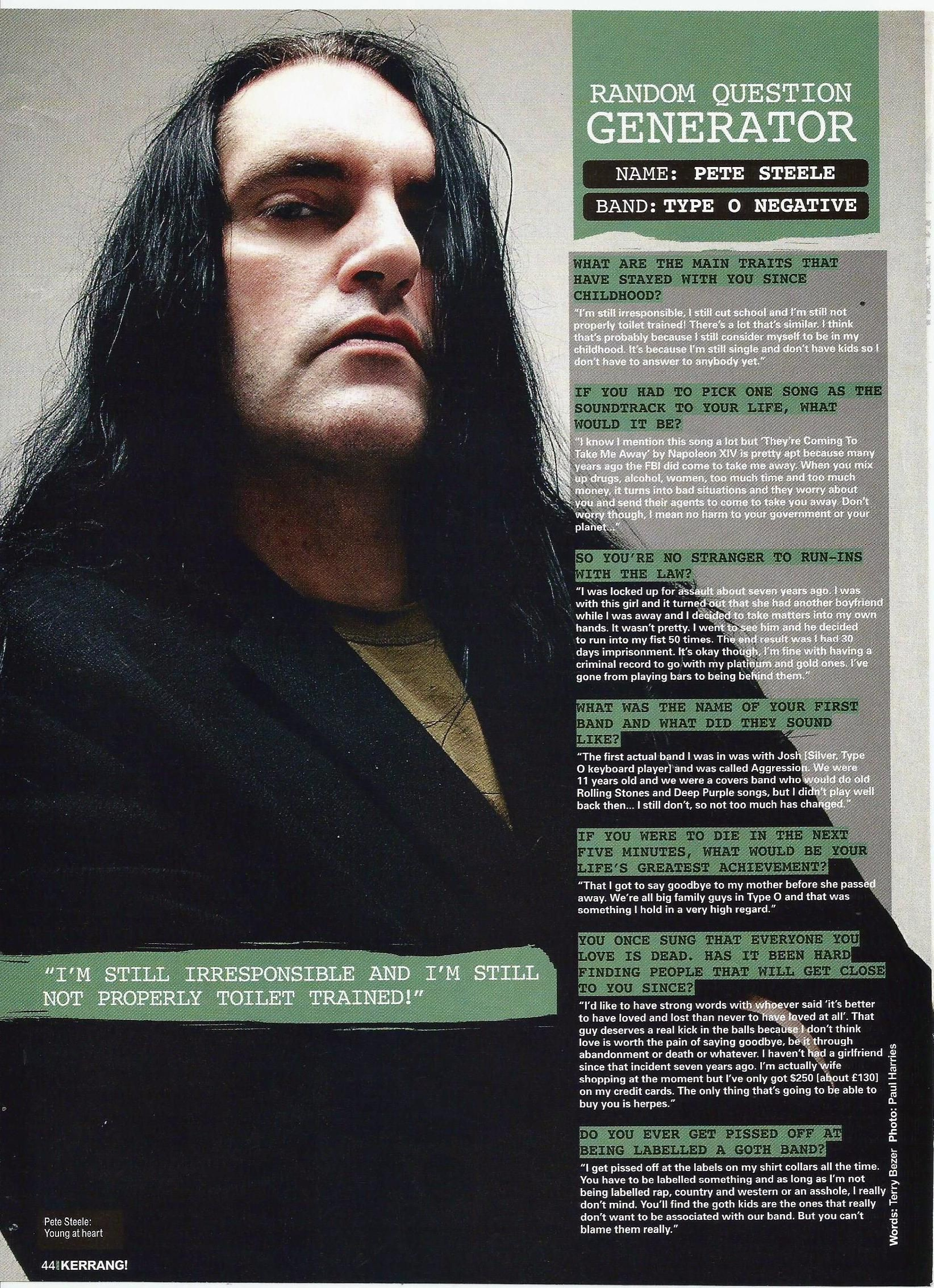 Res: 1644x2268, Peter Steele, from Kerrang magazine