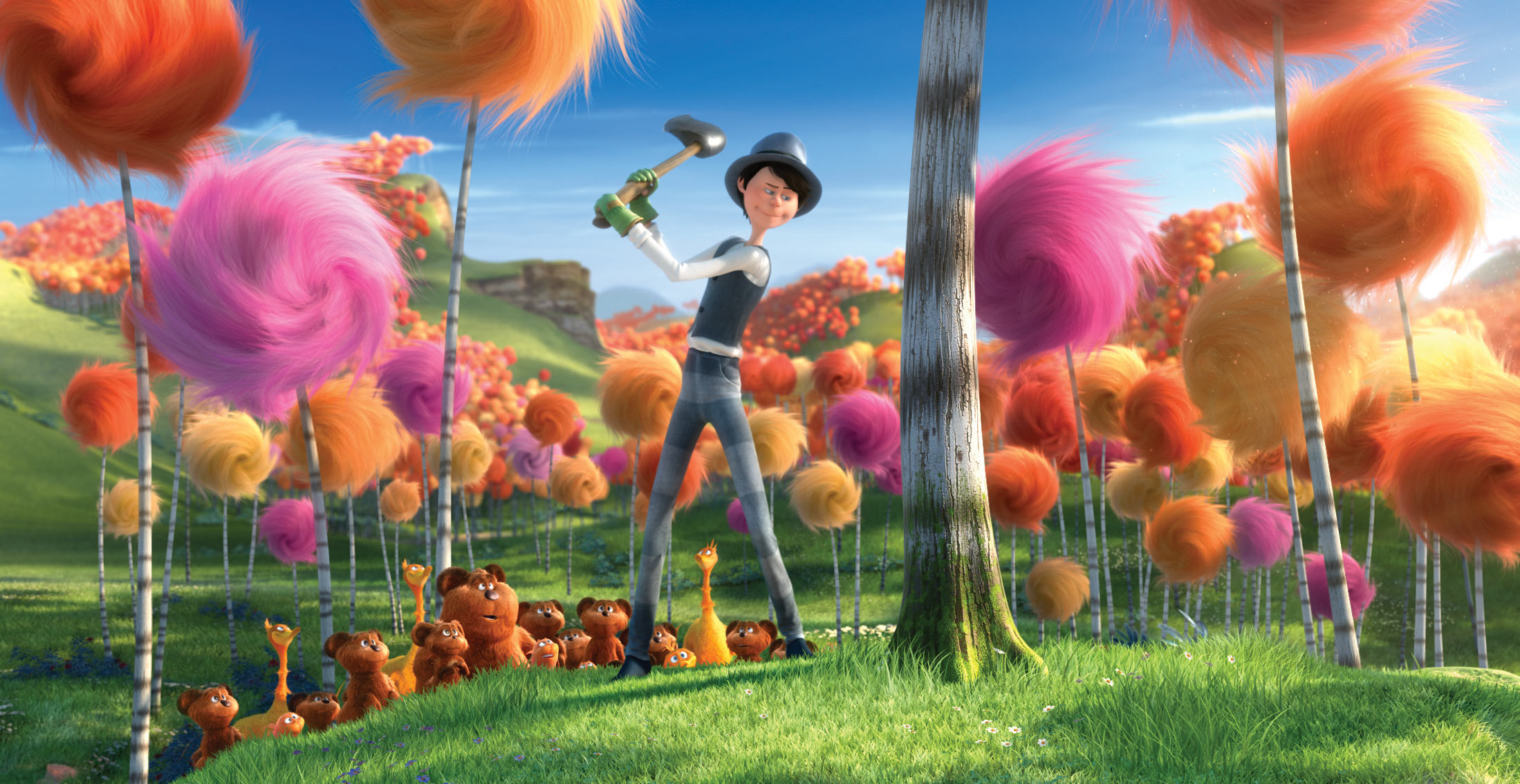 Res: 2198x1134, Once-ler cutting down a tree from Dr. Seuss The Lorax Movie 2012 wallpaper