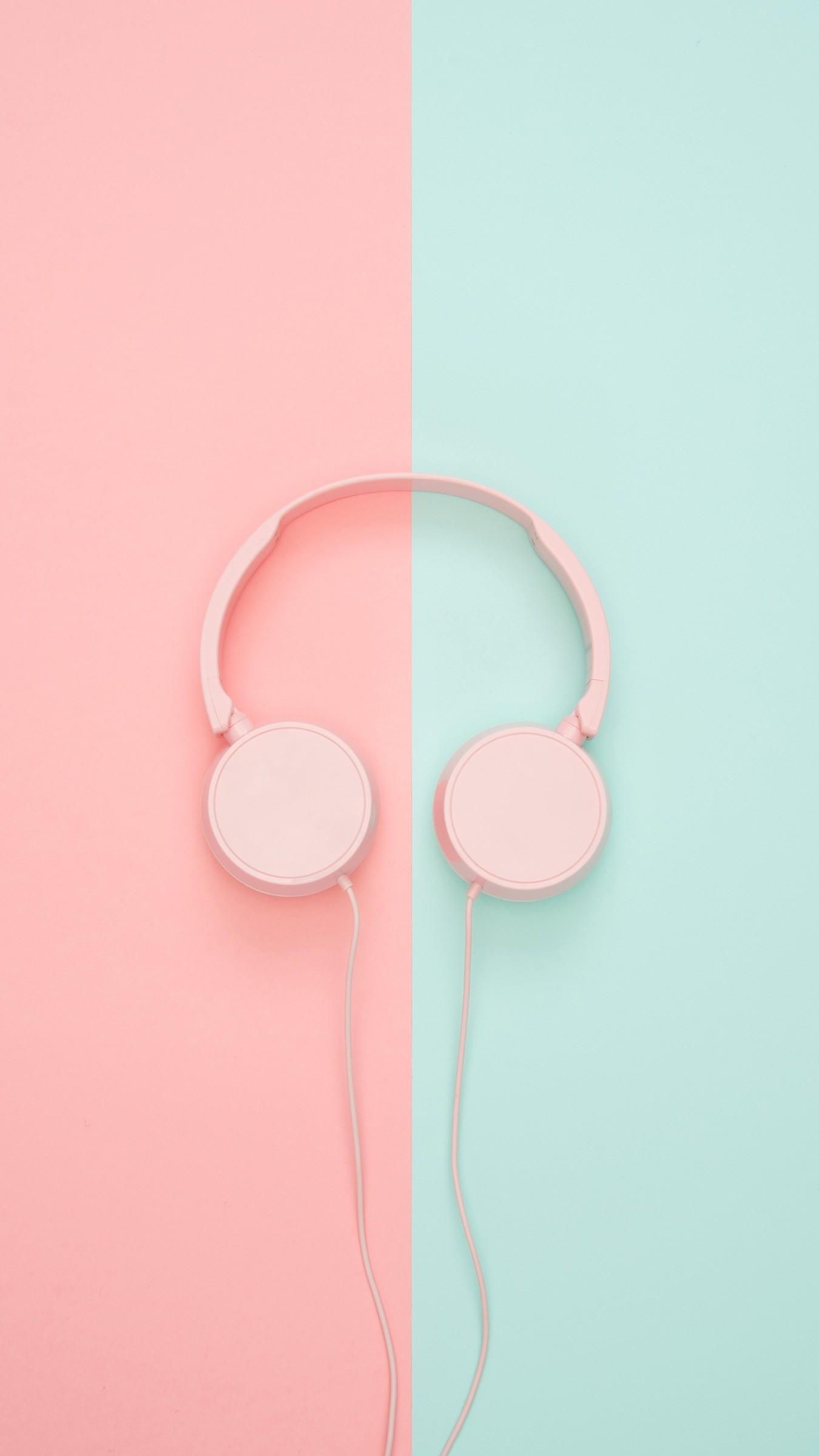 Res: 1350x2400,  Wallpaper headphones, minimalism, pink, pastel