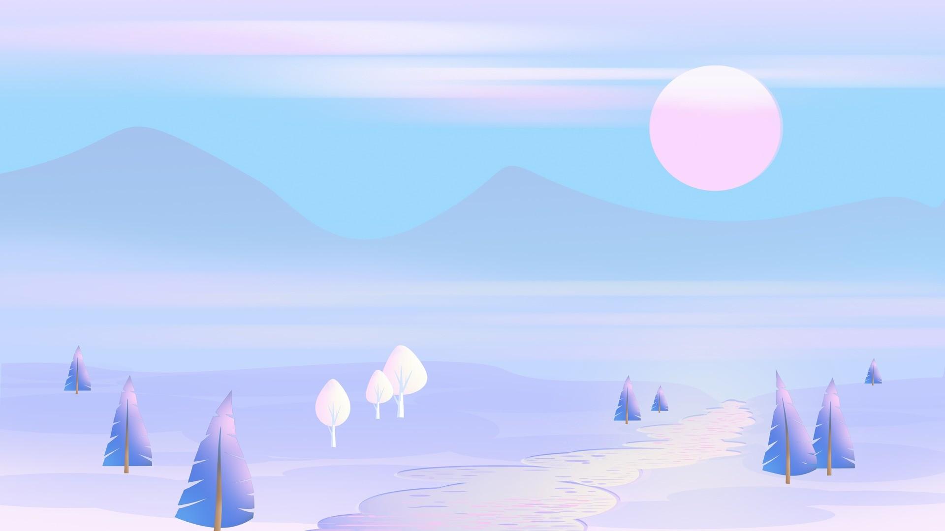 Res: 1920x1080,  Wallpaper sun, mountains, vector, art, trees, landscape, pastel